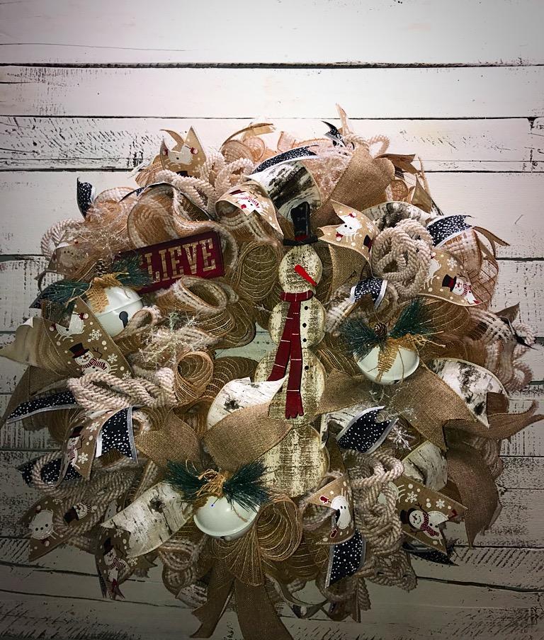 Christmas Wreath Rustic Snowman