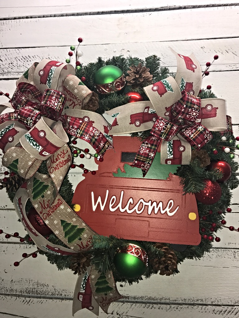 Holiday Wreath Door Christmas For Front Old Pickup Truck Merry Welcome
