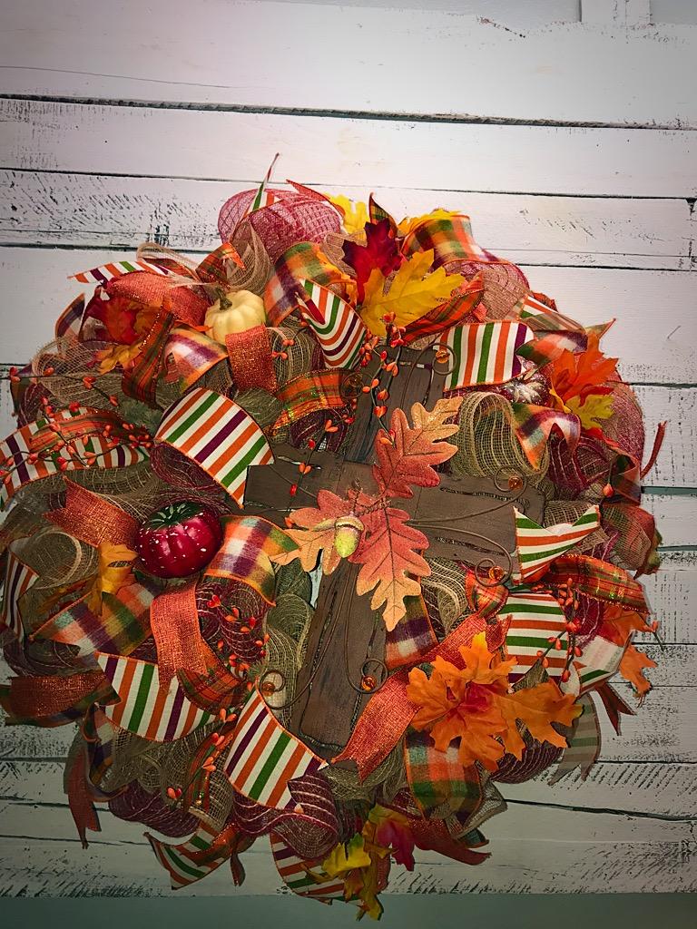 Fall Wreath Fall Door Wreath Fall Cross Wreath