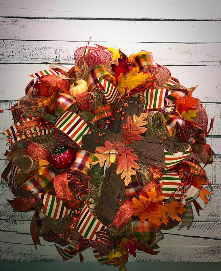 Fall Wreath Fall Door Wreath Fall Cross Wreath