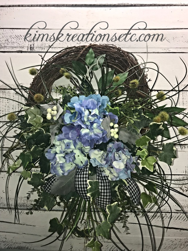 ... Spring Door Wreath, Blue Hydrangeas, Home Decor, Handmade Wreaths. ; 