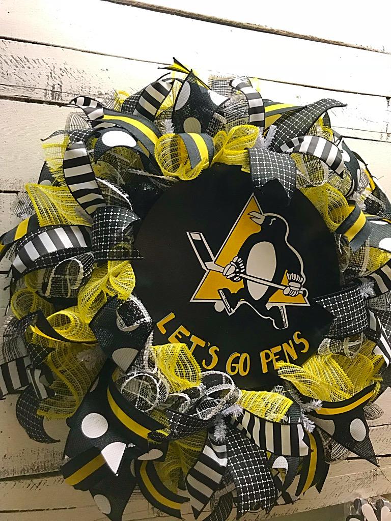 Pittsburgh Penguins Door Wreath Pens Hockey Nhl