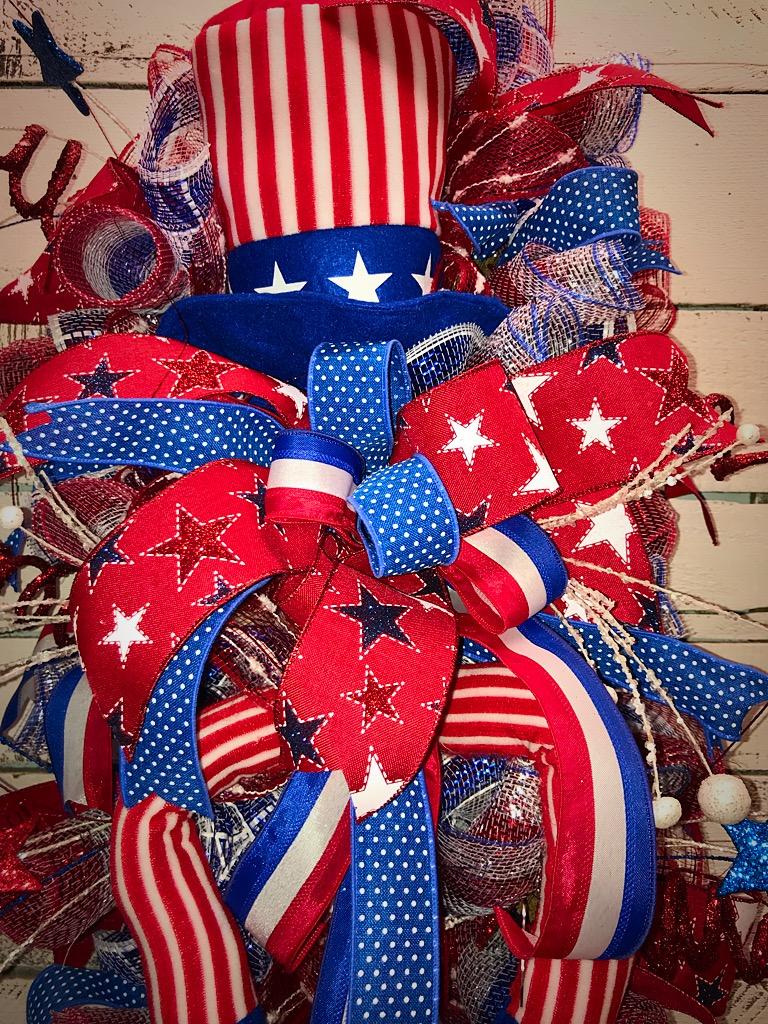 Patriotic Wreath Patriotic Swag Usa 4th Of July Memorial Day Flag Day Summer Door Swag