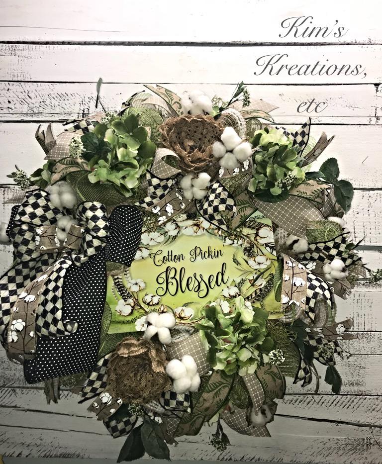 Farmhouse Style Wreath Farmhouse Cotton Wreath Farmhouse Door