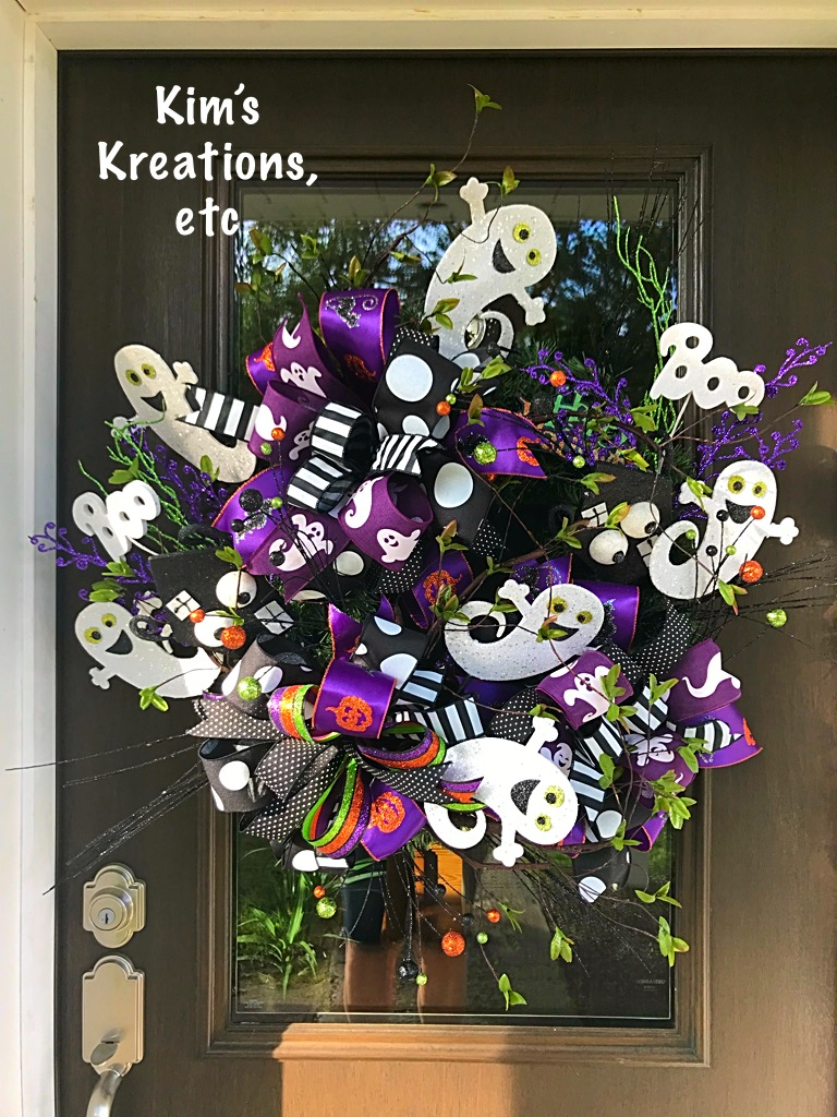 Halloween Wreath Halloween Ghost Wreath Whimsical Halloween Wreath Halloween Door Wreath Front Door Wreath Halloween Decor Cute Halloween Wreath Halloween Home Decor Handmade Wreath Kim S Kreations Etc