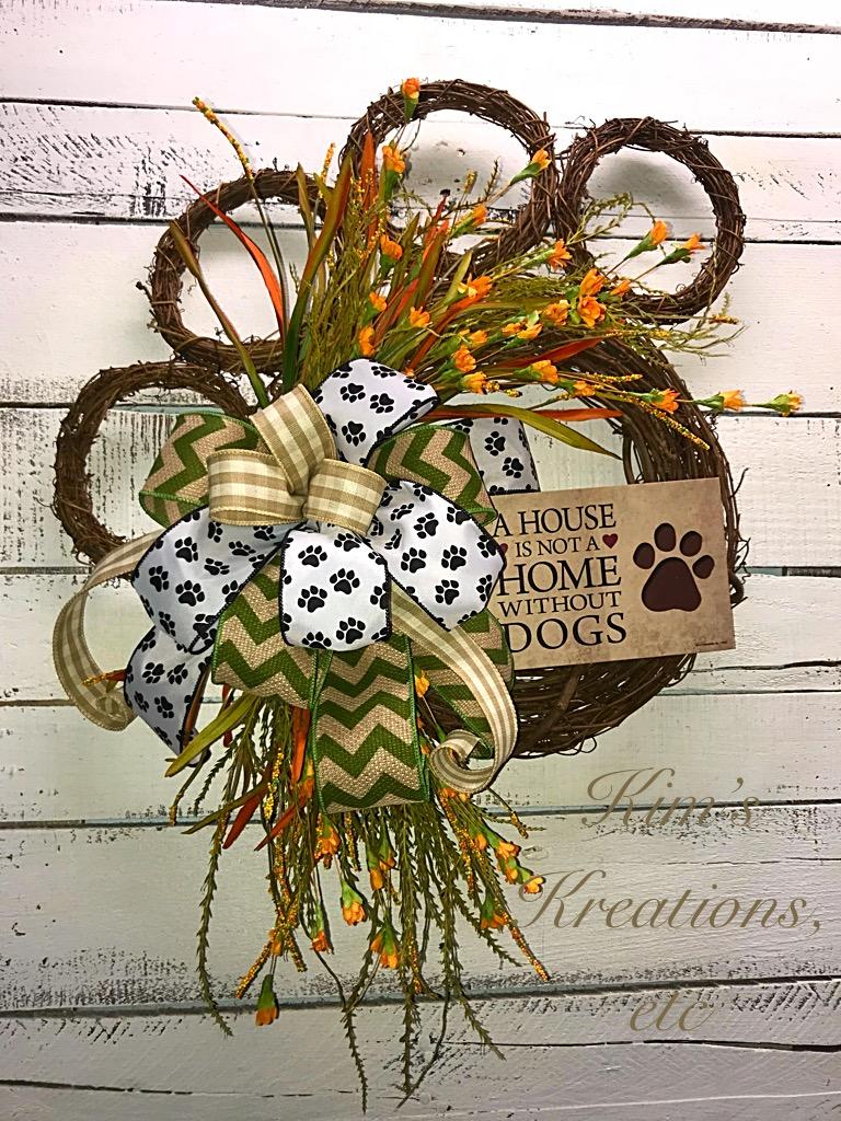 Dog Paw Wreath Doggie Wreath Front Door Wreath Doggie Wreath For Front Door Dog Paw Fall Wreath Fall Wreath Pet Wreath Decorative Wreath Home Decor Kim S Kreations Etc