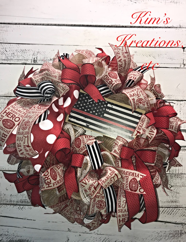 Firefighter Wreath Red Thin Line Firefighter Wreath Firefighter