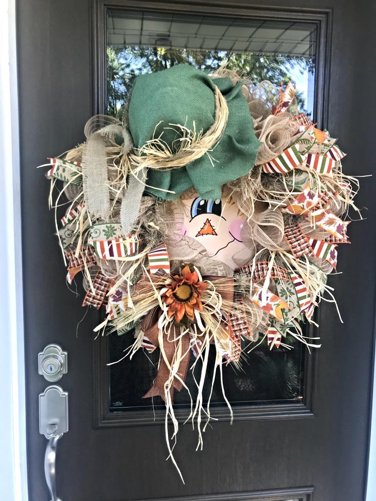 Fall Wreath Scarecrow Wreath Scarecrow Face Fall Scarecrow Wreath Fall Door Wreath Fall Scarecrow Scarecrow Front Door Wreath Scarecrow Wreath For Front Door Fall Decor Fall Door Decor Home Decor Unique Scarecrow