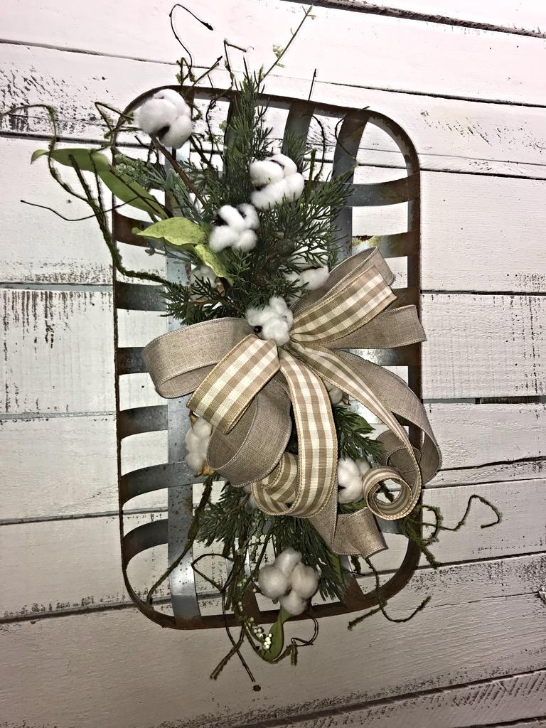 Tobacco Basket Cotton Floral Arrangement Farmhouse Decor Tobacco Basket Wall Hanger Front Door Wreath