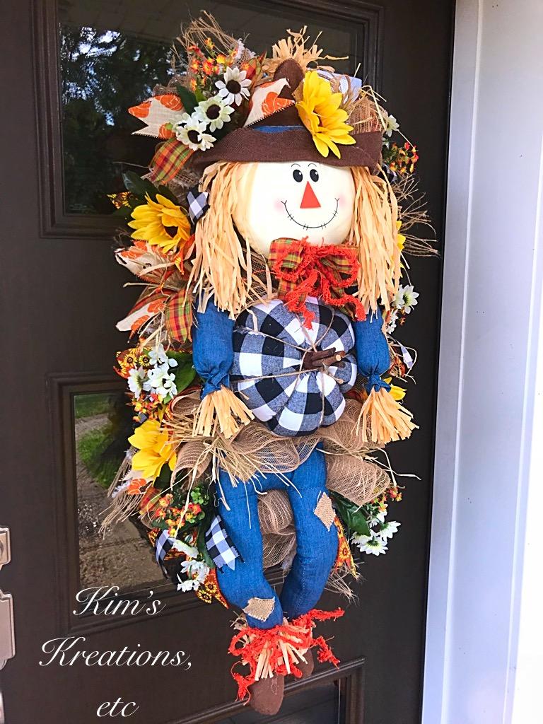 Fall Wreath Fall Scarecrow Door Swag Scarecrow Wreath Black And White Pumpkin Scarecrow Vertical Swag Denim Scarecrow Front Door Wreath Fall Burlap Sunflowers Home Decor Handmade Wreath Kim S Kreations Etc