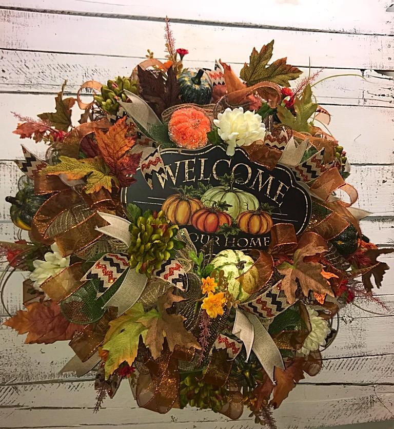 Fall Wreath Fall Welcome Wreath For Front Door Front Door Wreath