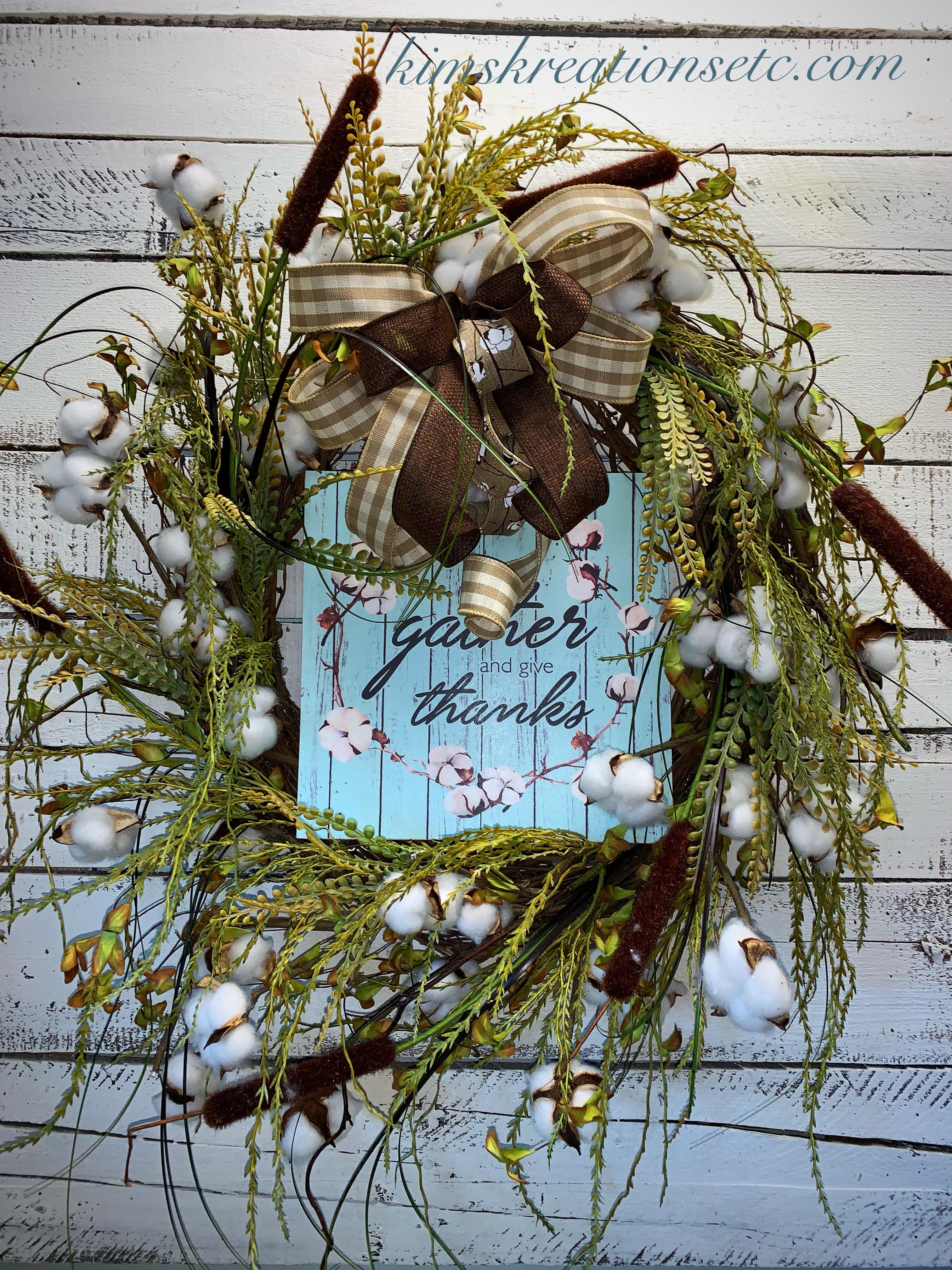 Cotton Stem Grapevine Wreath