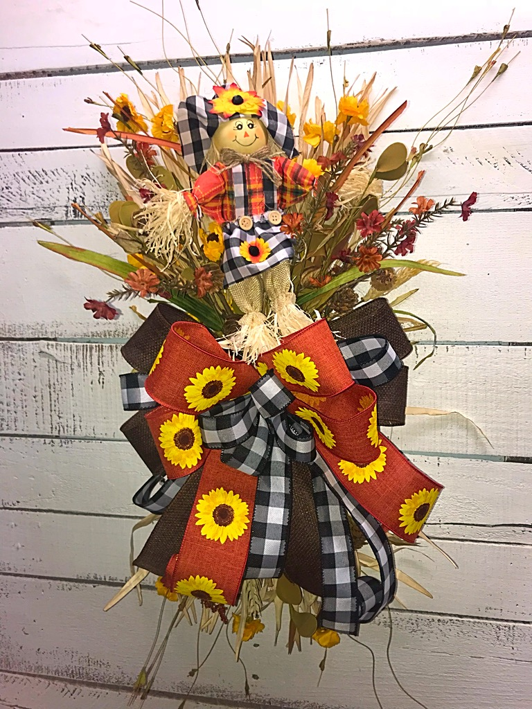 Fall Swag Fall Door Swag Fall Door Hanger Fall Decor Fall Wreath Scarecrow Swag Front Door Decor Home Decor Handmade Decor Wreaths For Sale