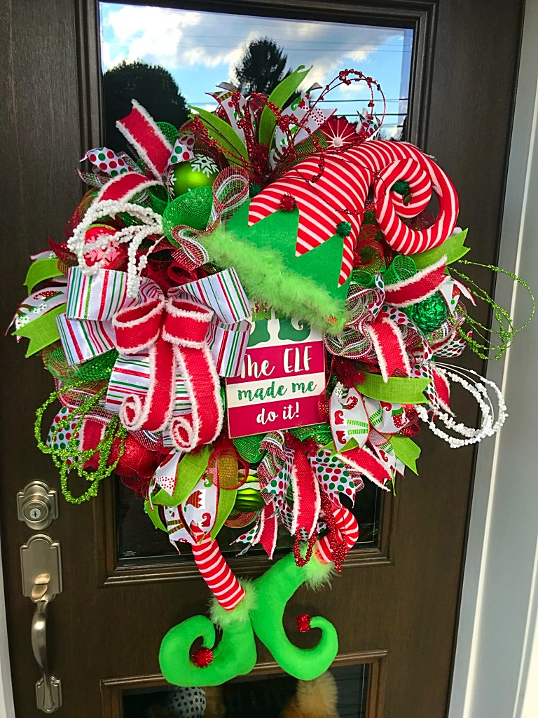 Christmas Wreaths.Christmas Wreath Christmas Elf Wreath Elf Wreath Holiday Wreath Christmas Wreath For Front Door Christmas Decor Elf Character Wreath Whimsical