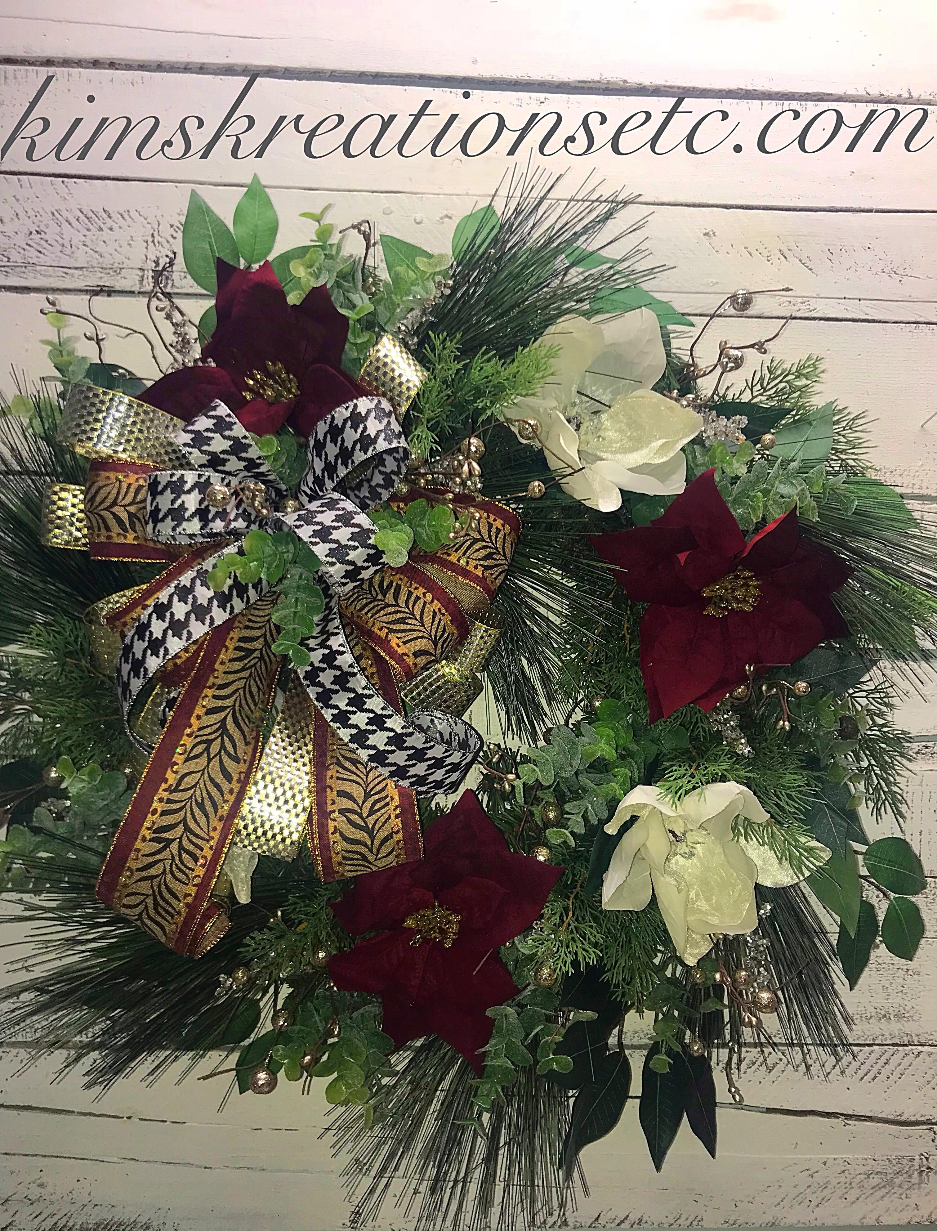 Christmas Wreath Christmas Burgundy Poinsettias Wreath White
