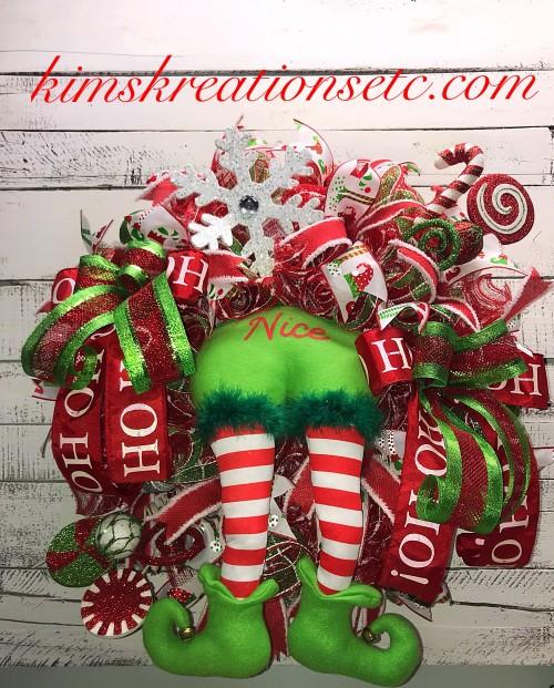 christmas wreath christmas character wreath christmas elf wreath elf butt wreath christmas door wreath christmas wreath for front door holiday wreath