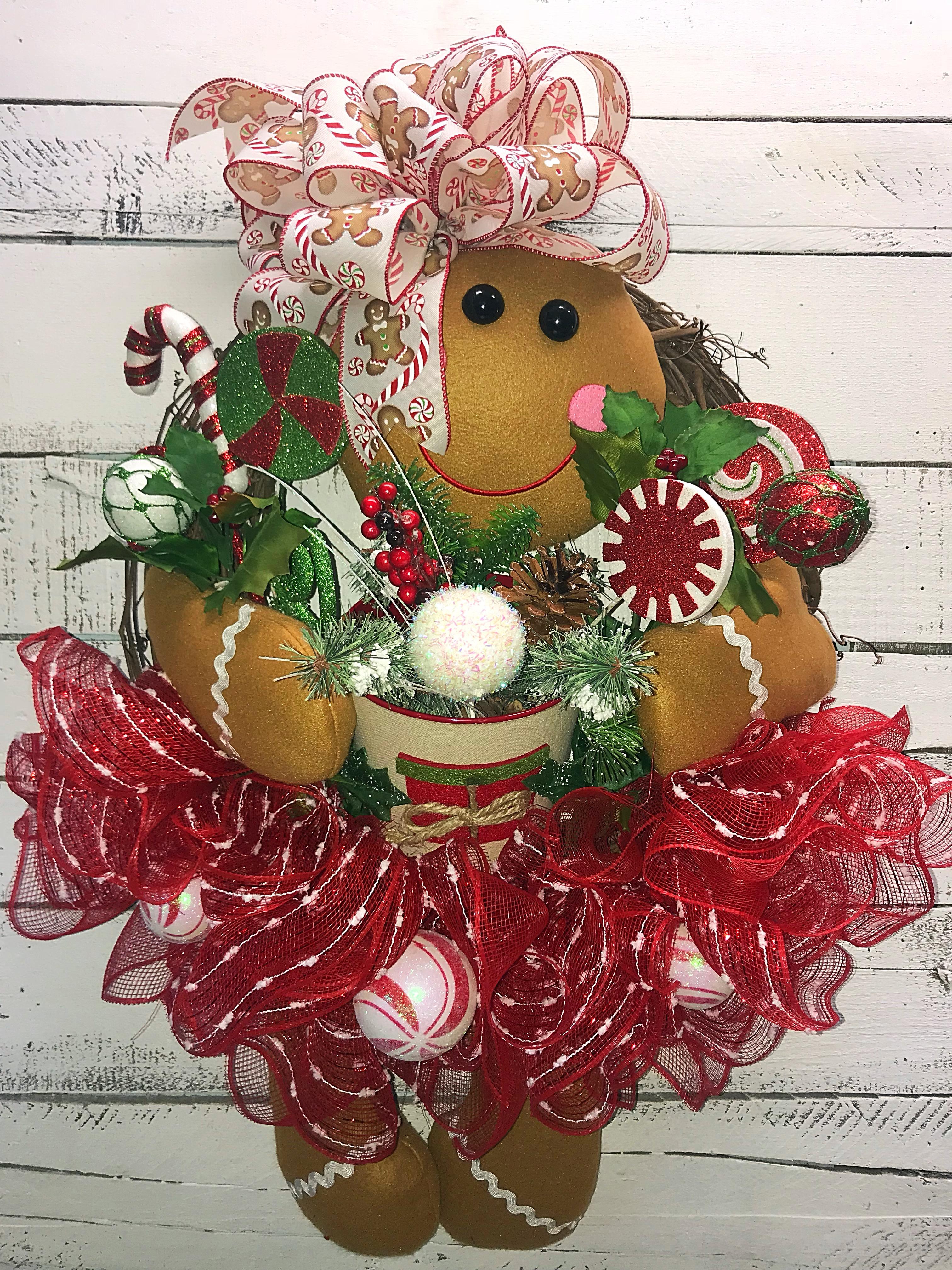 Christmas Wreaths.Christmas Wreath Holiday Door Wreath Gingerbread Wreath Gingerbread Girl Wreath Gingerbread Wreath For Front Door Christmas Decor Home Decor