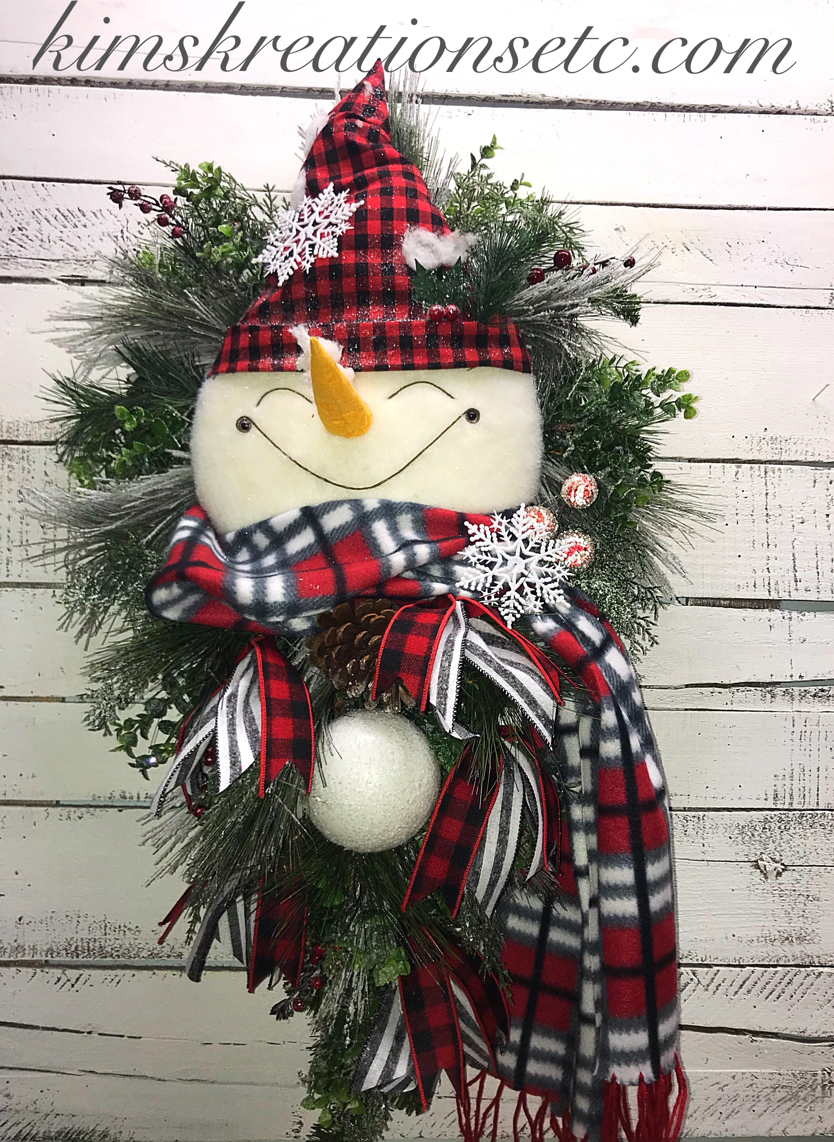Winter Wreath Snowman Wreath Front Door Swag Winter Decor Snowman Swag For Front Door Buffalo Plaid Snowman Winter Plaid Snowman Home Decor Handmade Wreaths Wreaths For Sale Kim S Kreations Etc