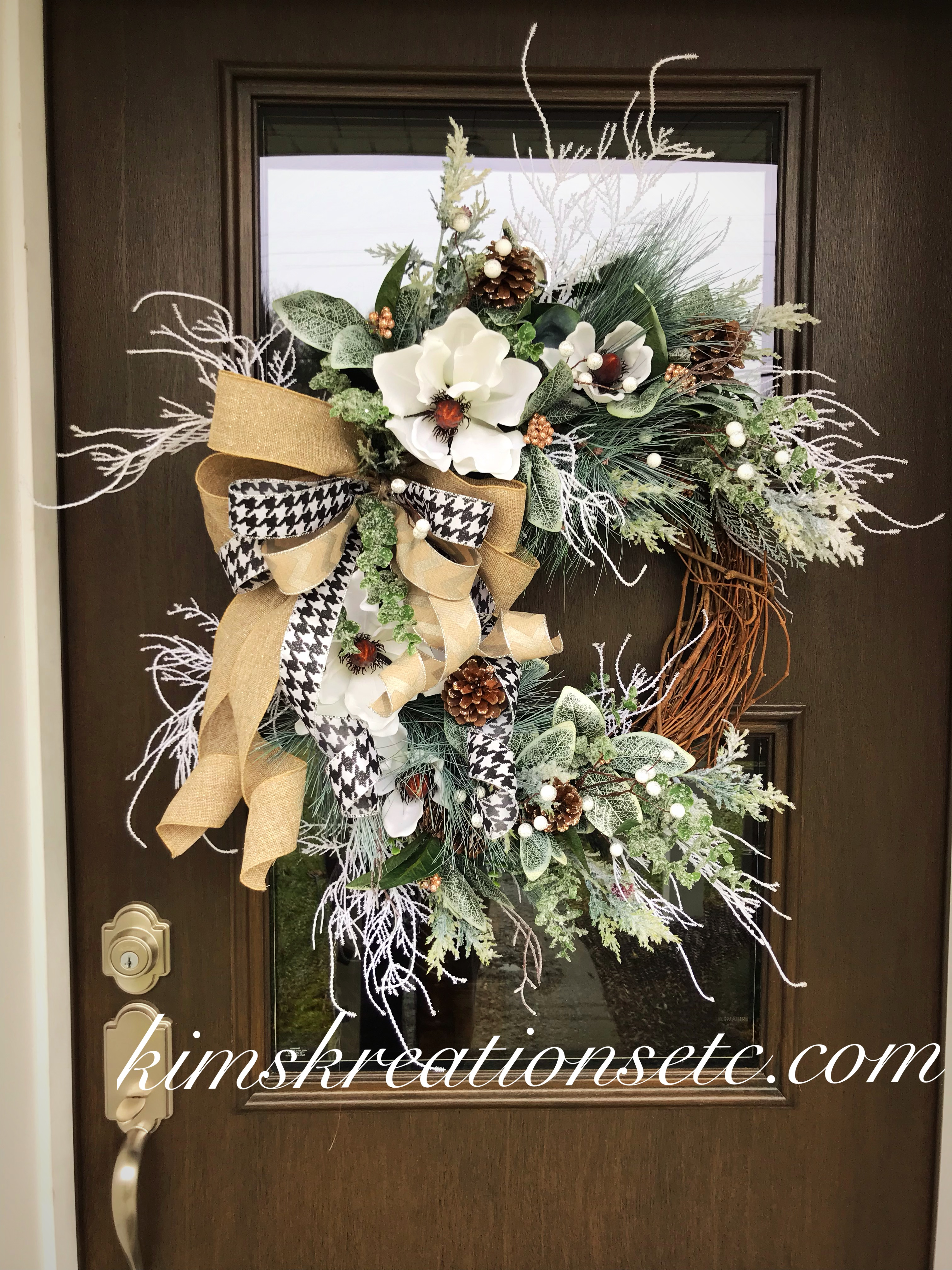 Winter Wreath Winter Magnolia Wreath Winter Pine Wreath Magnolia