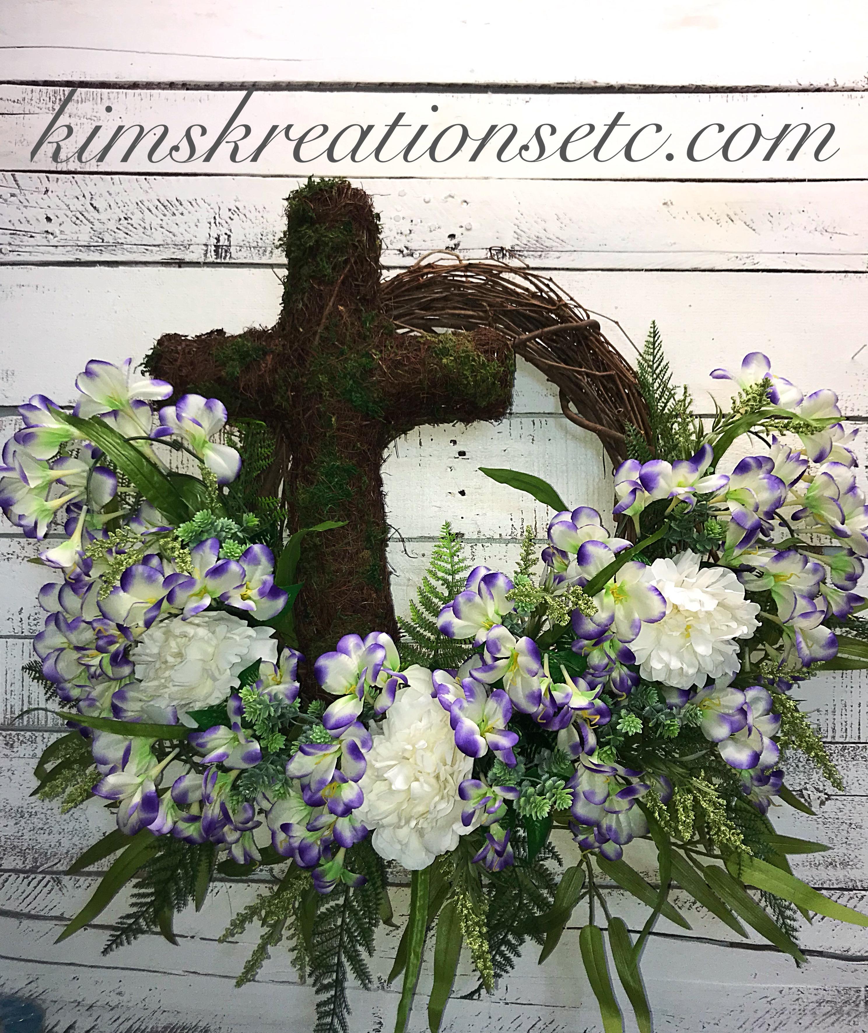 Home Decor For Sale: Cross Wreath, Spring Wreath, Condolences, Summer Wreath
