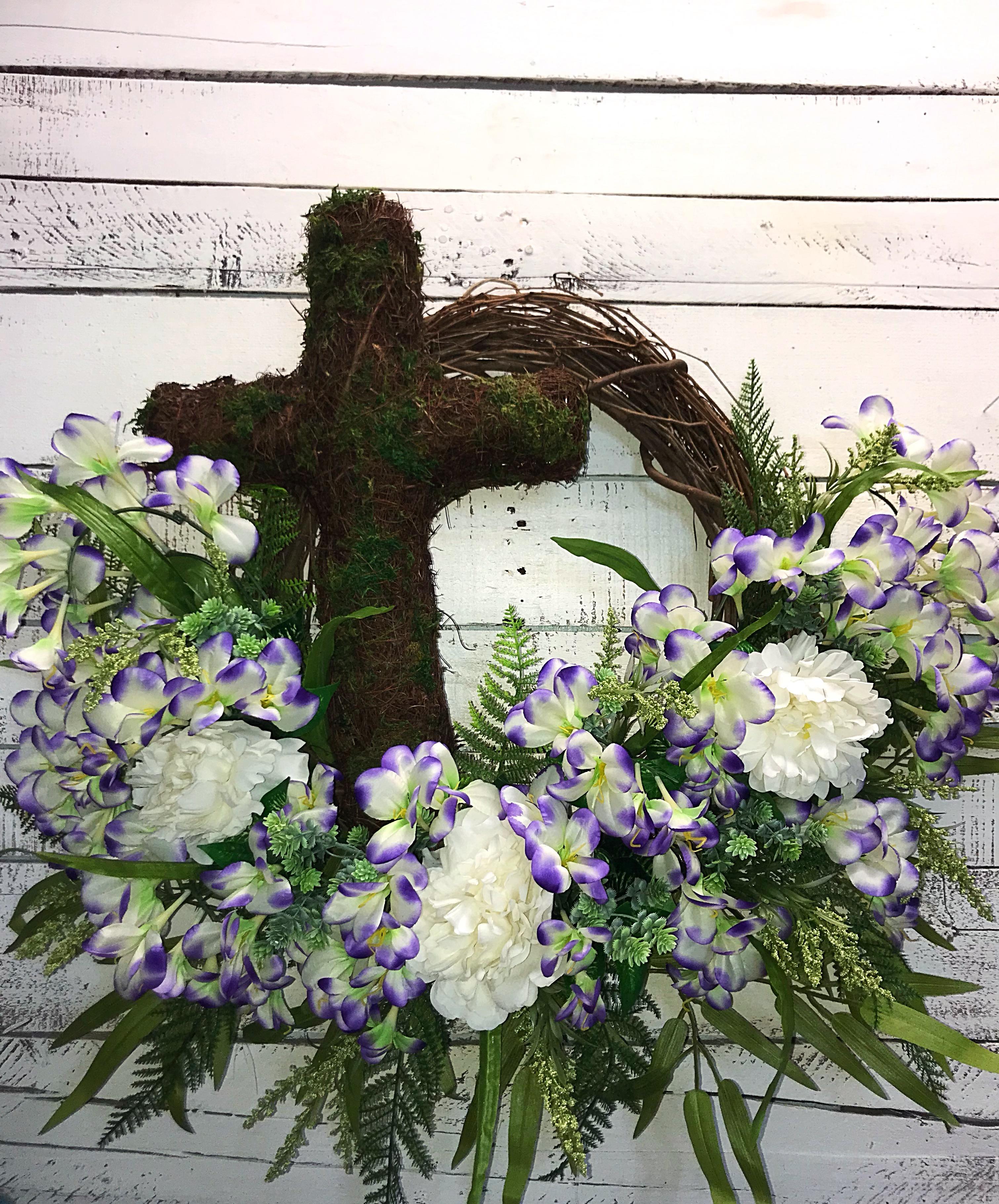 Cross Wreath, Spring Wreath, Condolences, Summer Wreath, Memorial Wreath,  Funeral Wreath, Purple Freesia, Purple Cross Wreath for Spring, Moss Cross