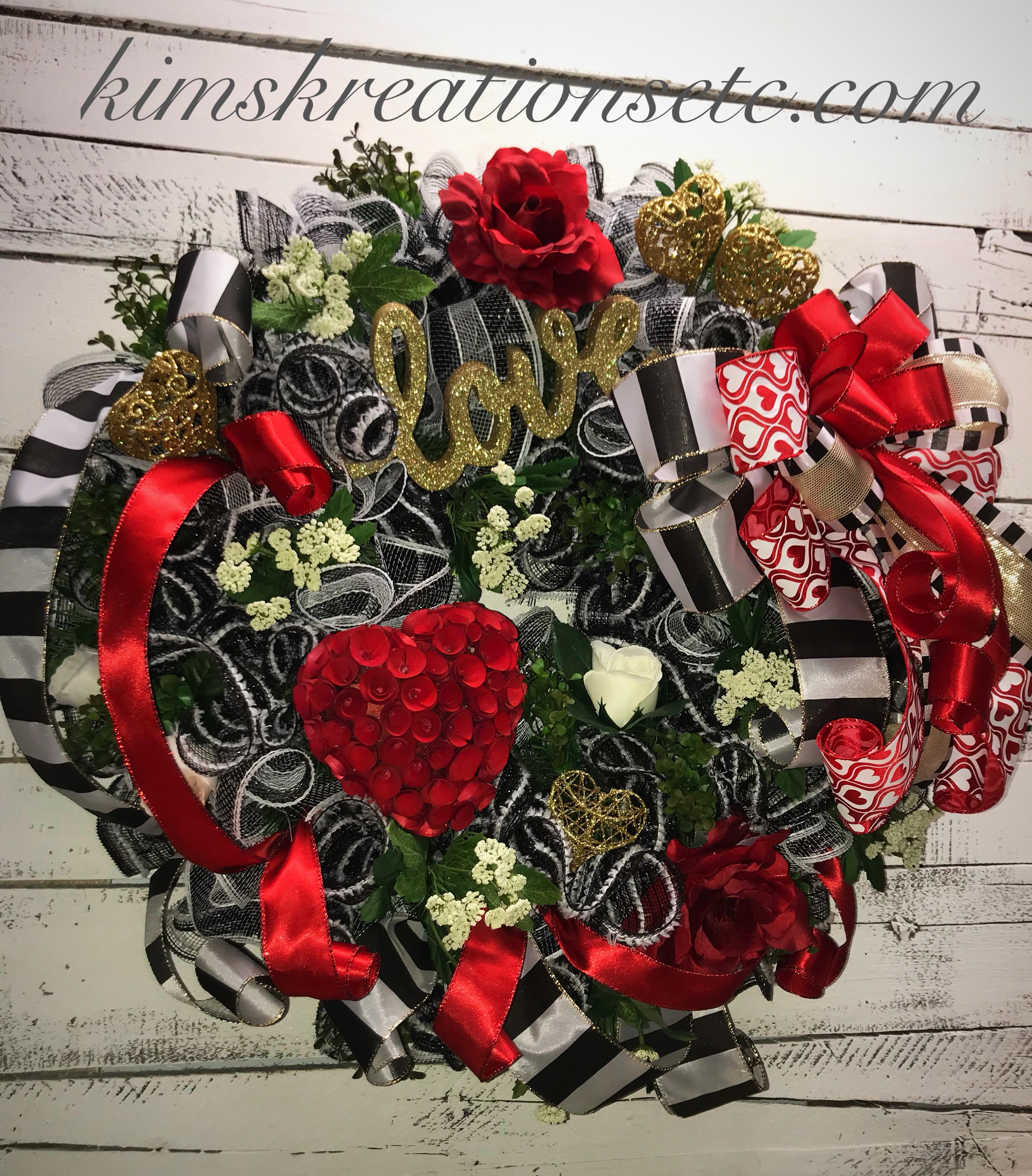 Valentine Wreath Valentines Day Door Wreath Front Door Wreath For