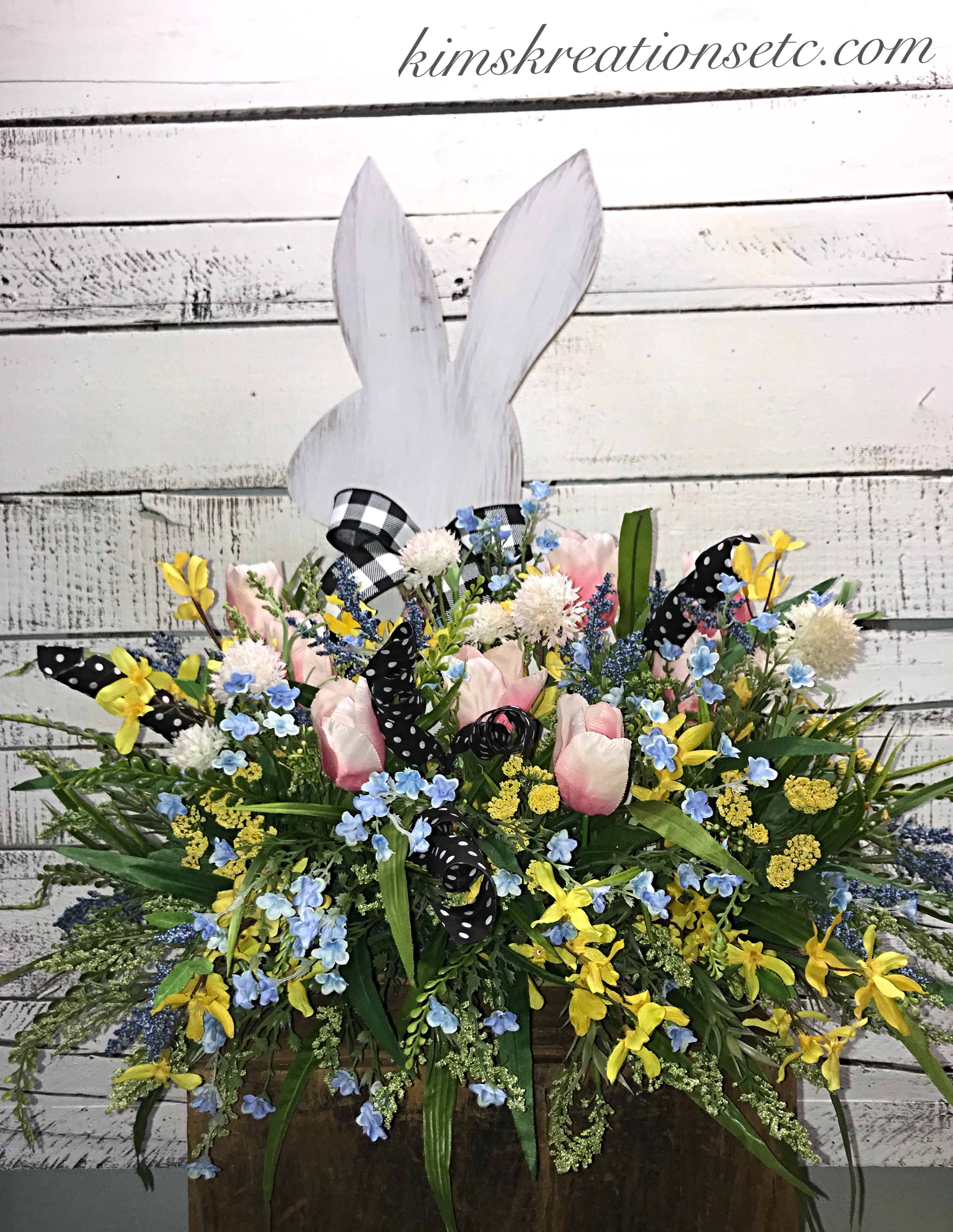 Easter Floral Arrangement Easter Bunny Mantle Arrangement Easter