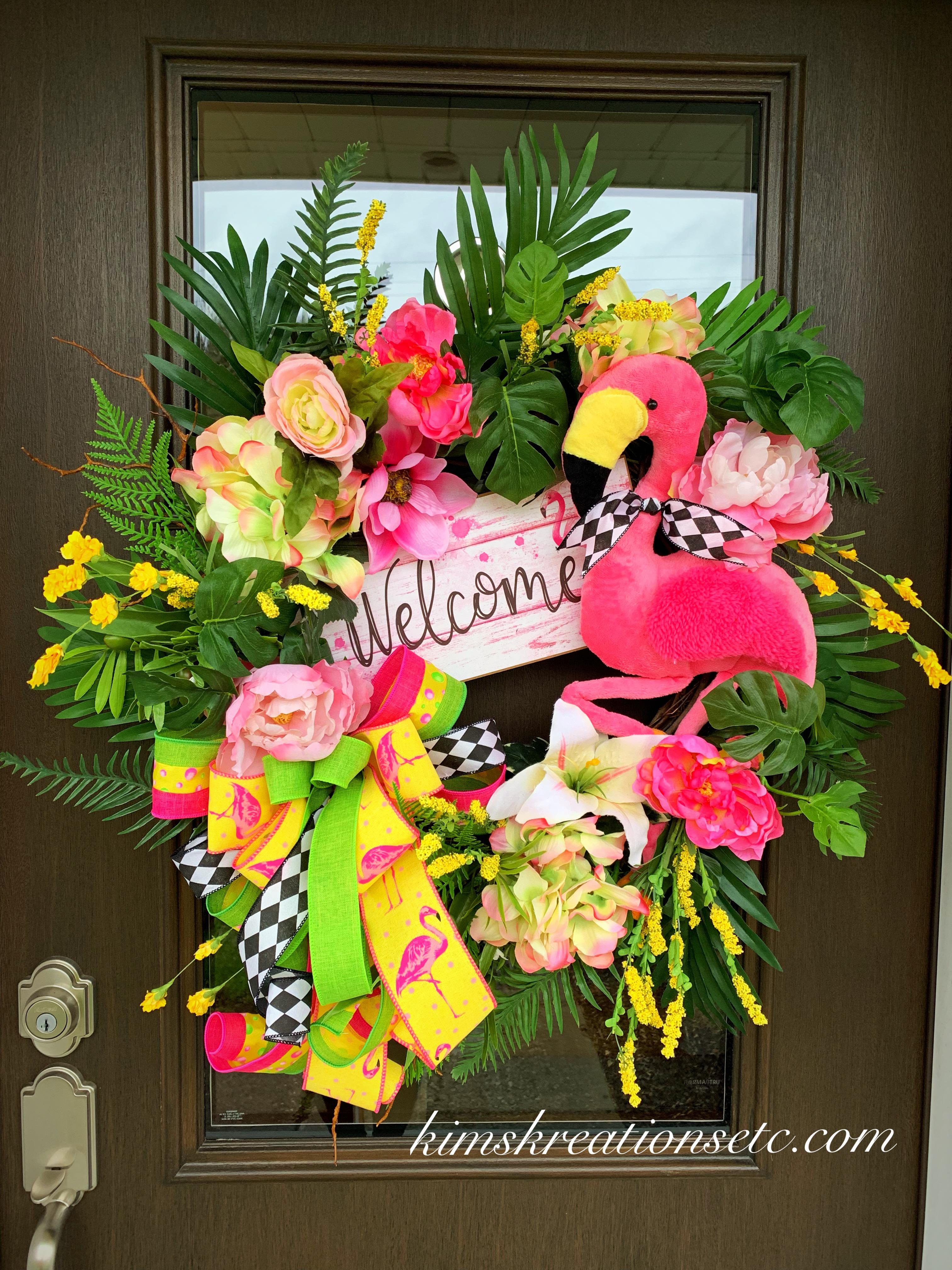 Flamingo Wreath Summer Wreath Summer Door Wreath Summer