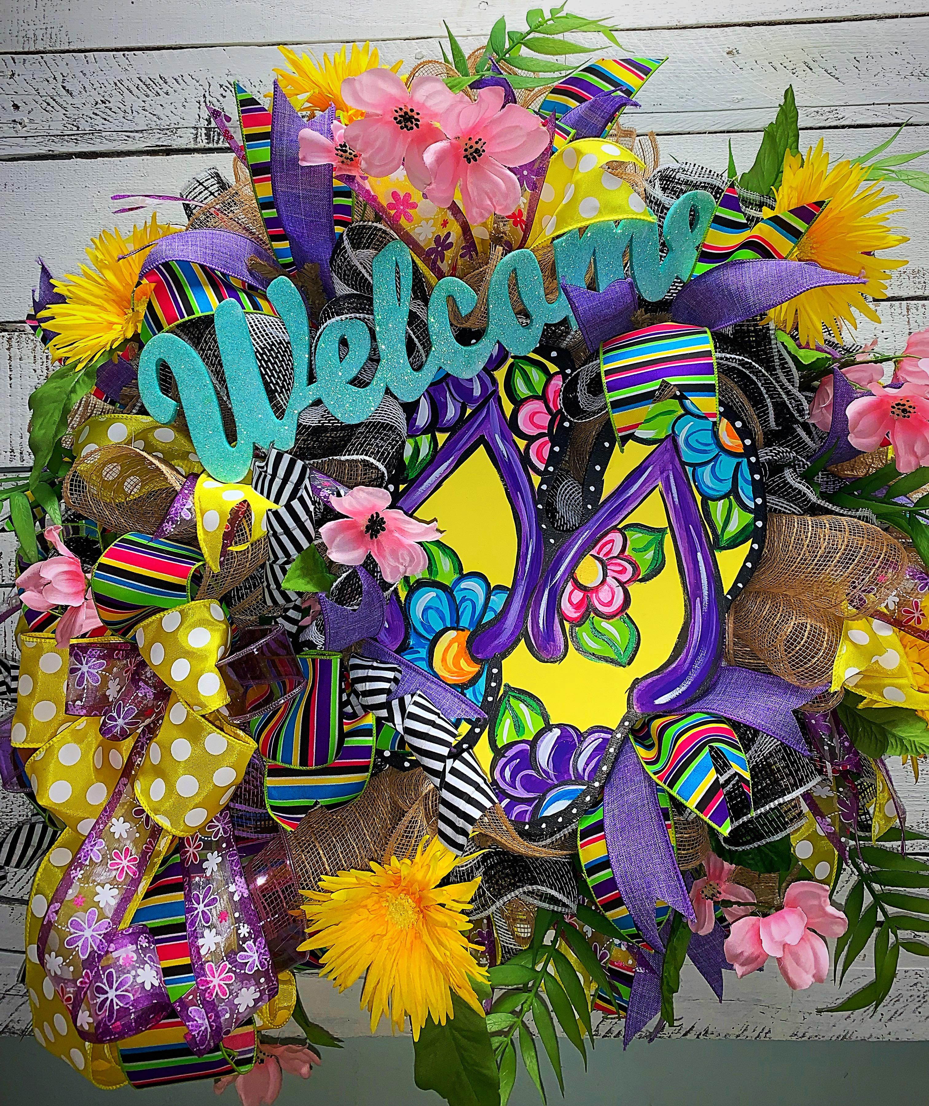 Home Decor For Sale: Summer Wreath, Flip Flop Wreath, Facebook Live Wreath