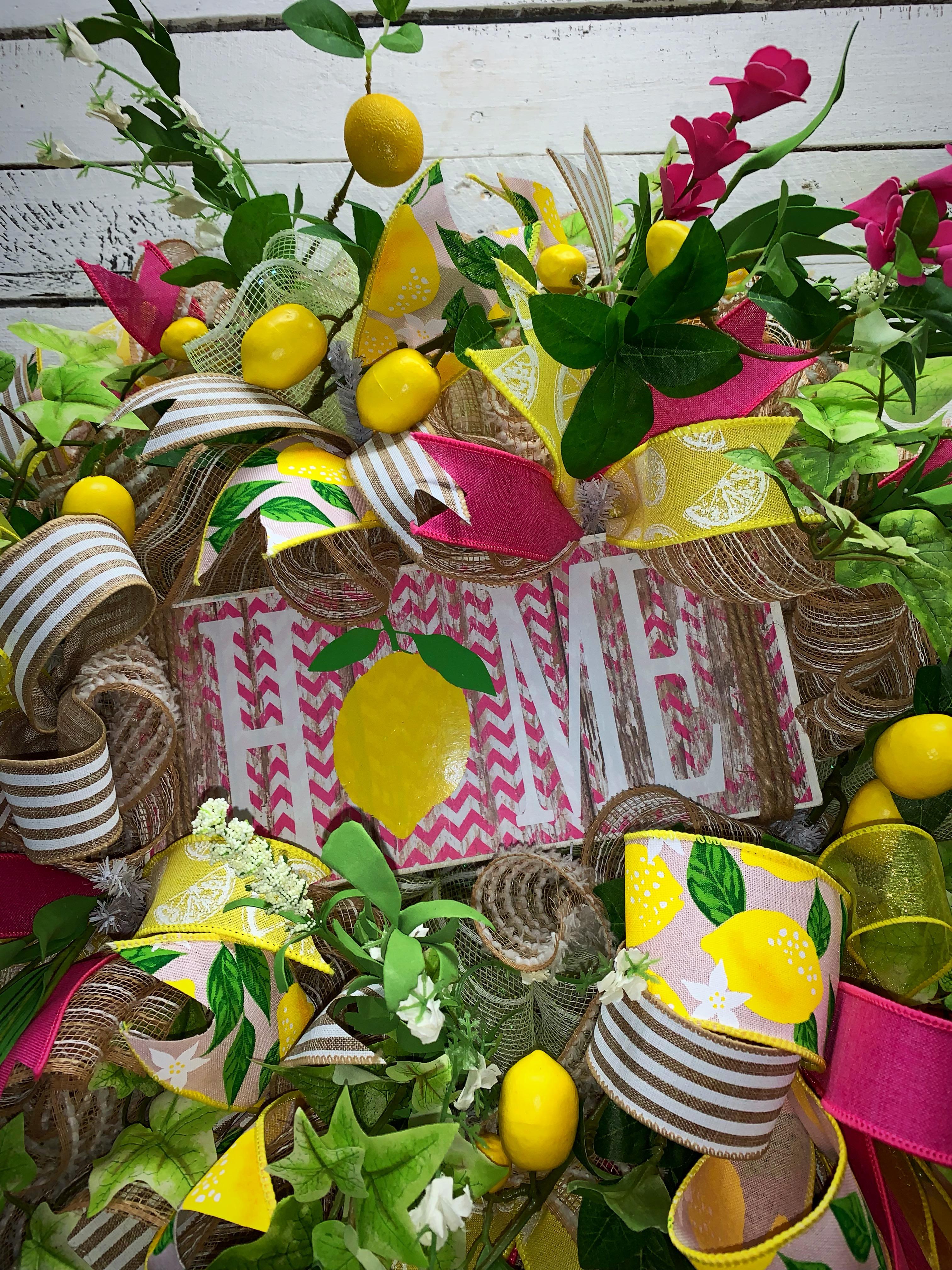 Summer Wreath Lemon Wreath Lemons Pink And Yellow Bright Colorful Summer Wreath Summer