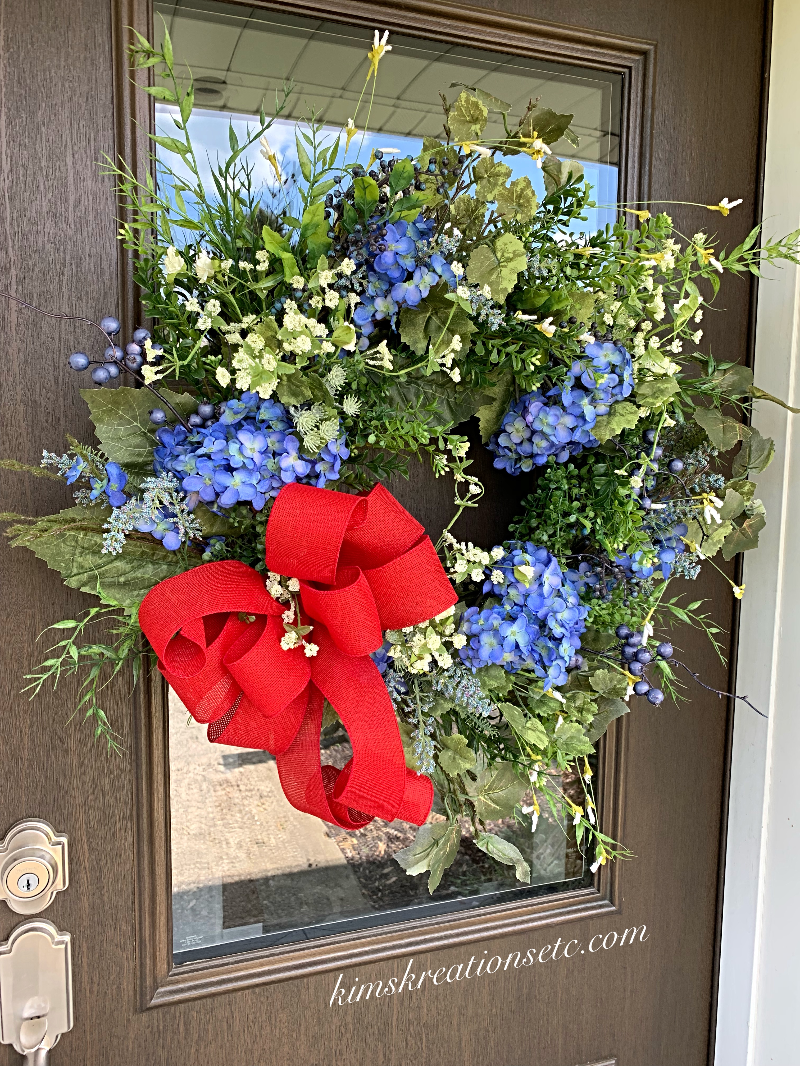 Patriotic Wreath Blue Hydrangeas Red White Blue Wreath Summer Wreath Patriotic Summer Wreath For Front Door 4th Of July Memorial Day All American Wreath Usa Wreath Gorgeous Summer Patriotic Wreath Home Decor