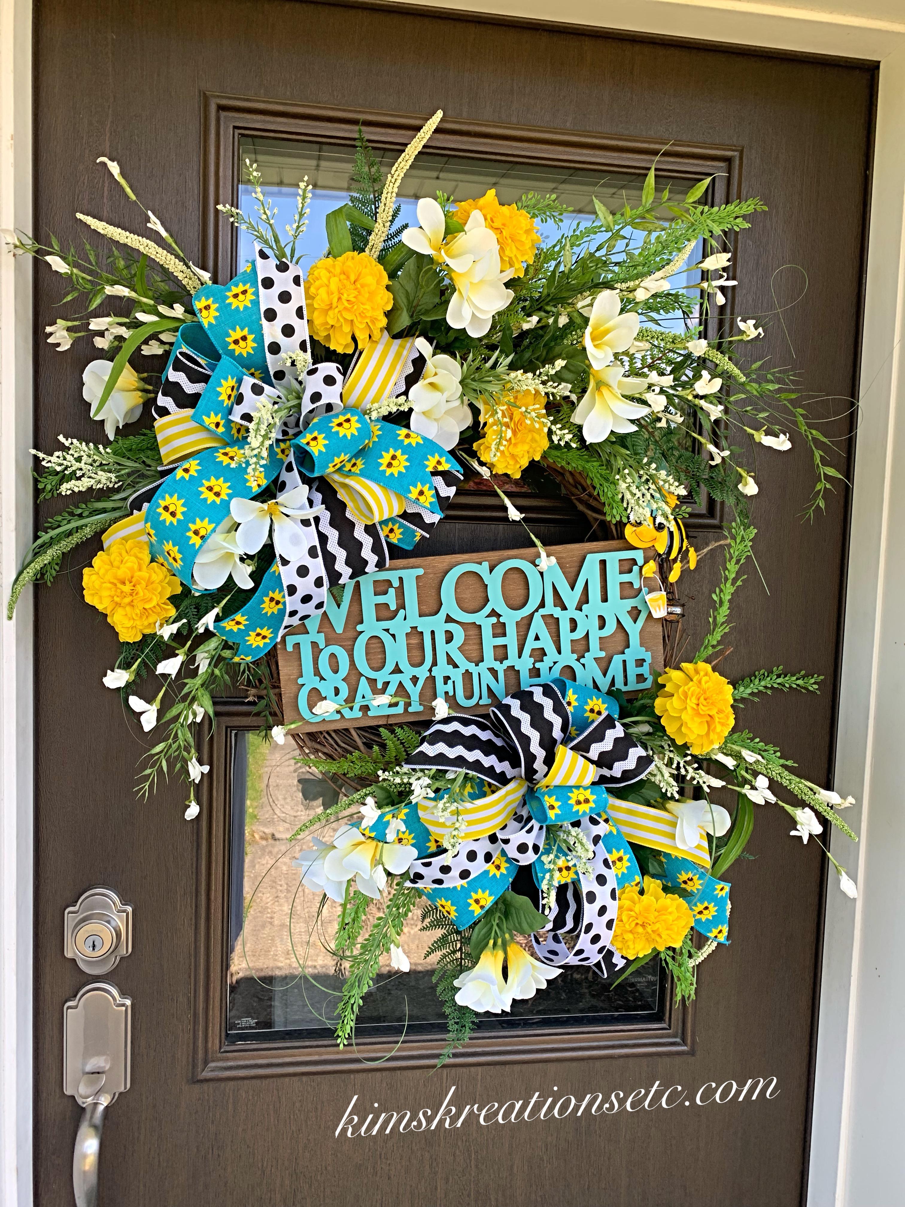 Summer Front Door Wreath: Summer Wreath, Fun Summer Door Wreath, Bright Colorful