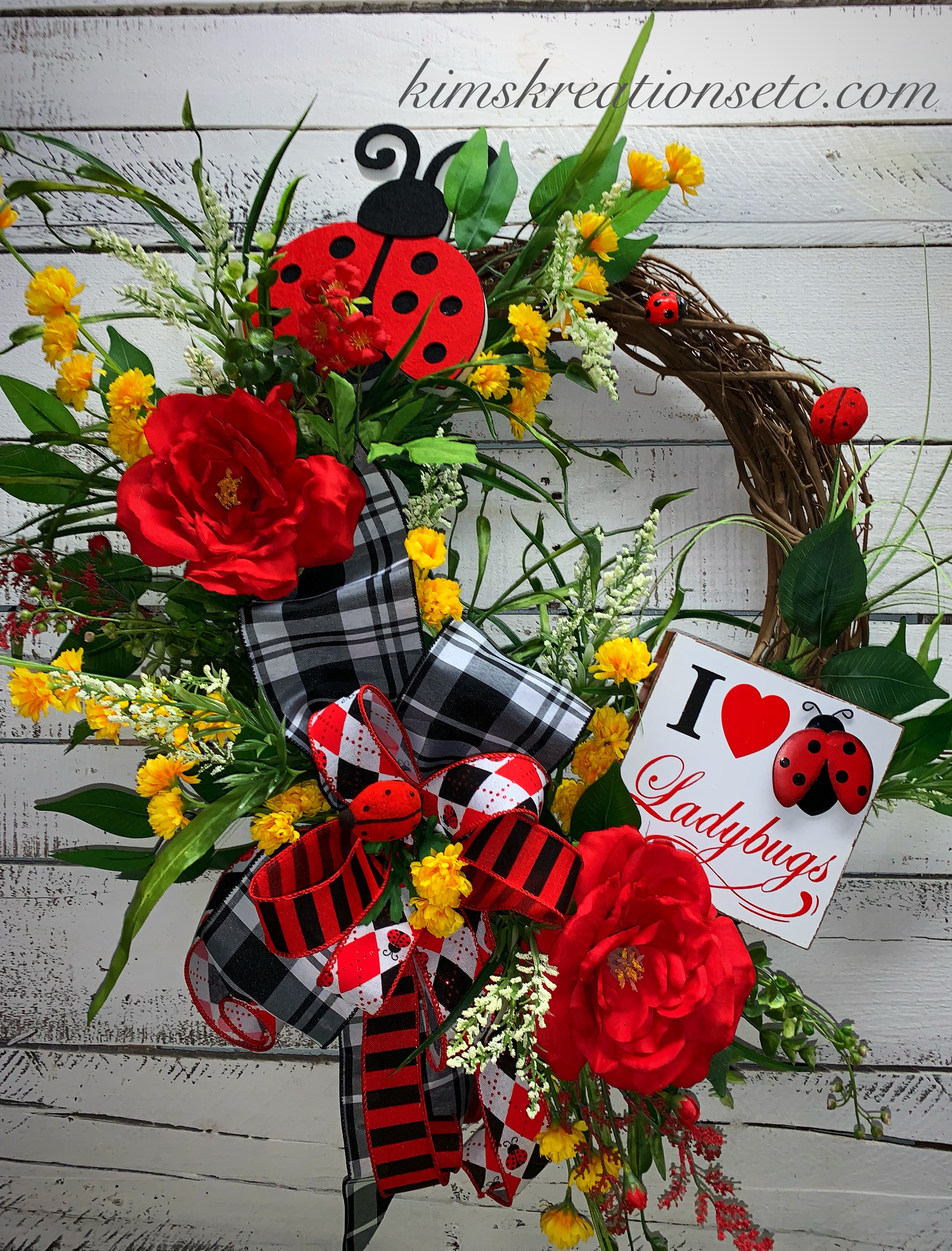 Ladybug Wreath Summer Wreath Summer Wreath With Ladybugs Summer Wreath For Front Door Red Yellow Beautiful Summer Wreath Summer Decor Outdoor Decor Home Decor Hand Made Wreaths Wreaths Wreaths For Sale