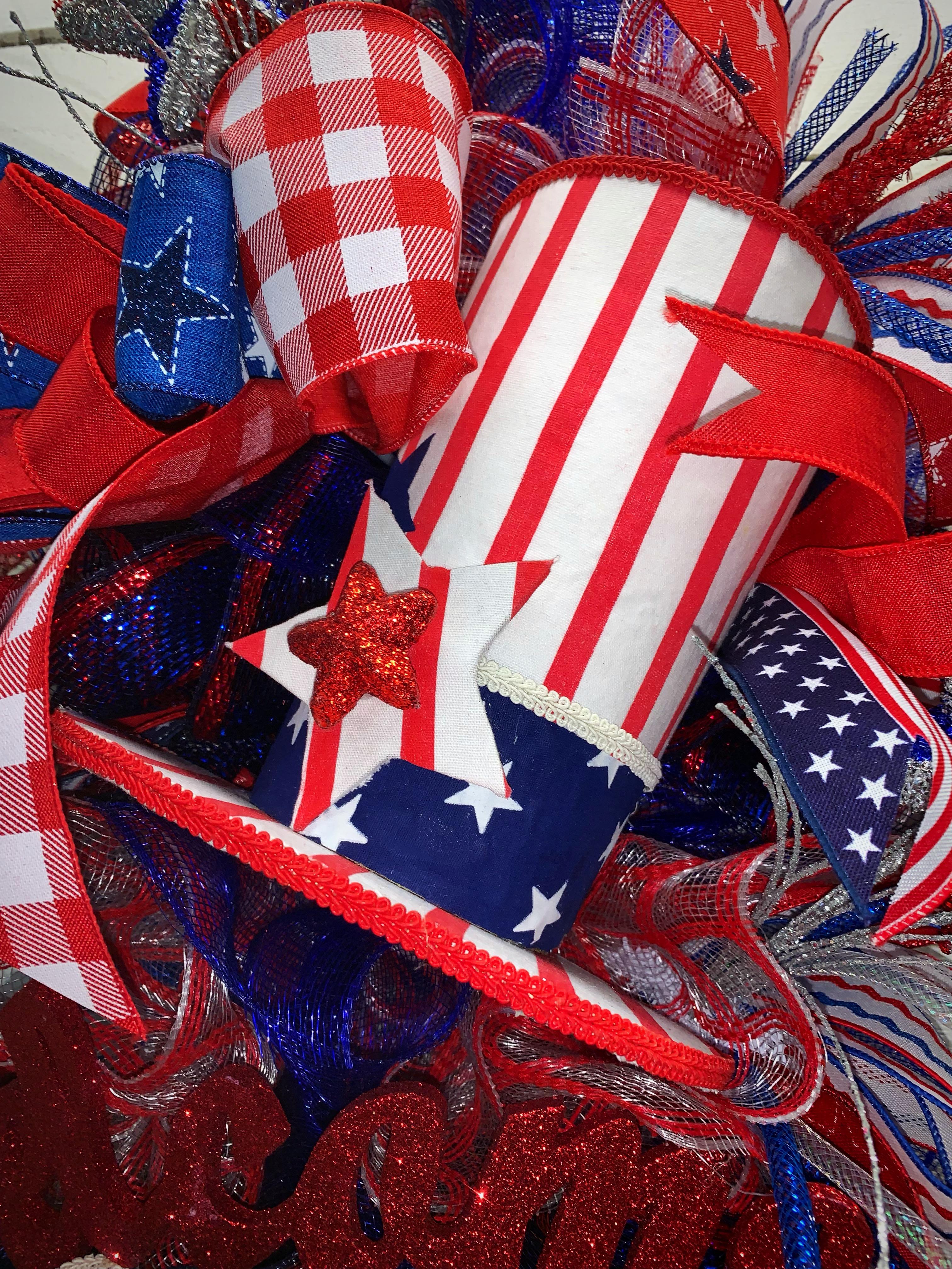 Patriotic Door Swag Patriotic Uncle Sam Door Swag Patriotic Decor Red White Blue Uncle Sam