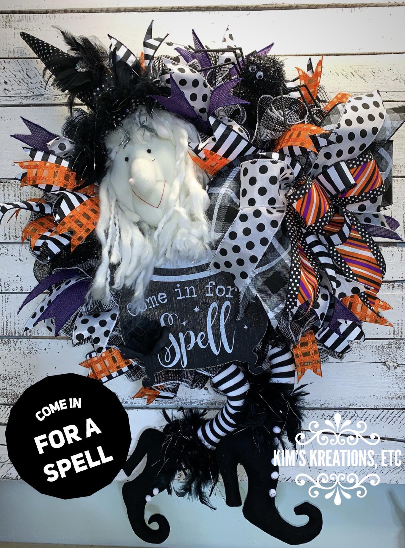 Halloween Wreath Free Shipping Halloween Witch Wreath Witch Wreath For Halloween Black And White Halloween Wreath Halloween Decor Large Halloween Wreath Home Decor Wreaths For Sale Hand Made Wreaths Kim S Kreations