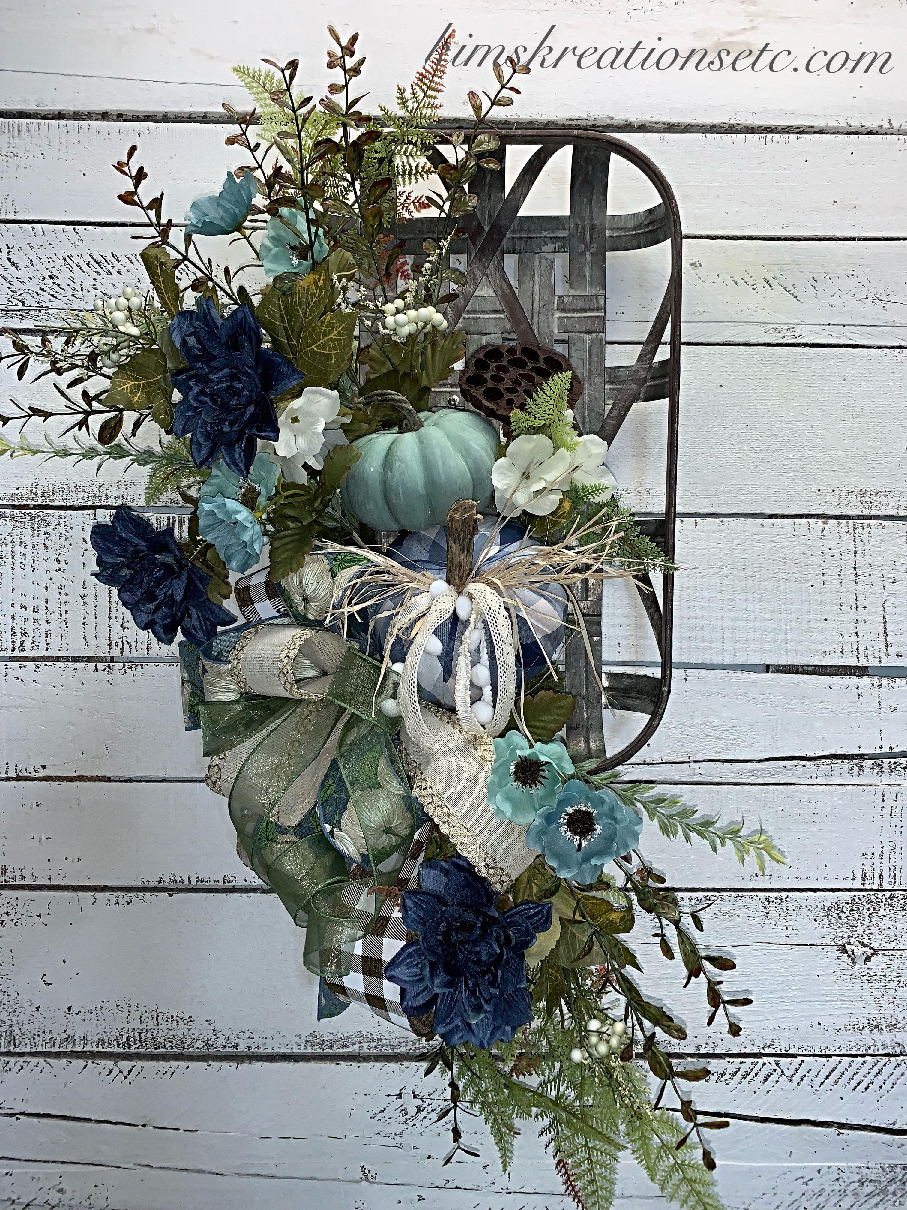 Fall Decor Fall Wreath Fall Tobacco Basket Farmhouse Decor Farmhouse Tobacco Basket For Fall Blue Pumpkins For Fall Blue And Teal Home Decor Blue Plaid Pumpkin Wreaths For Sale One Of A