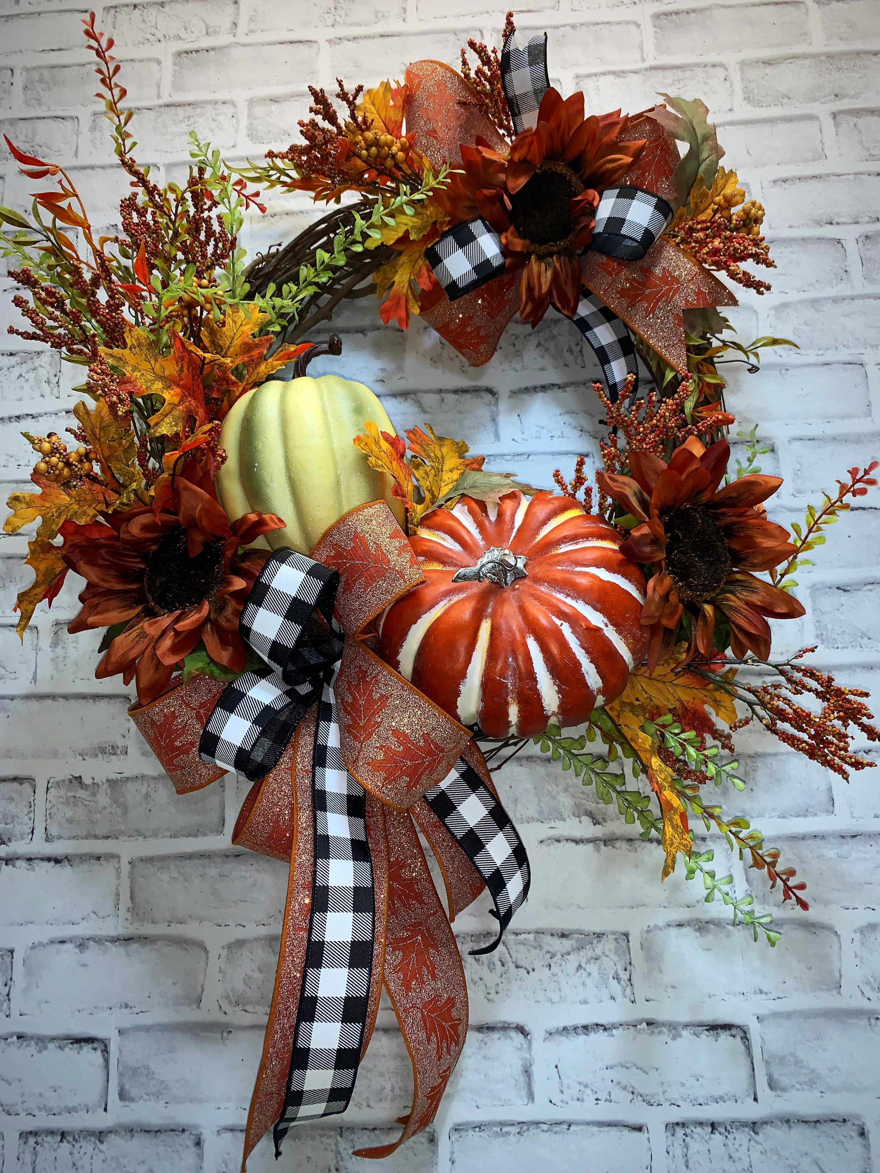 Fall Door Wreath, FREE SHIPPING, Fall Wreath, Fall Pumpkin ...
