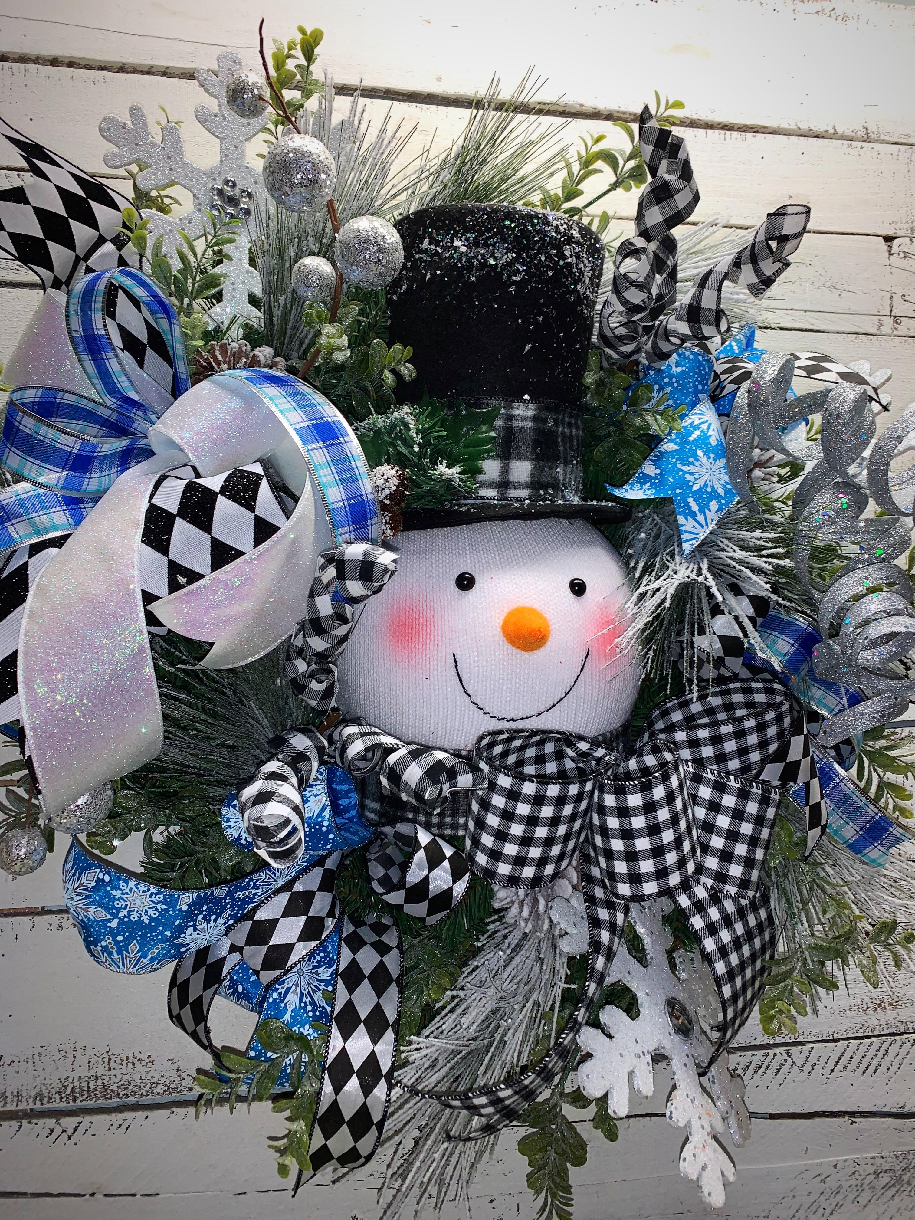 Winter snowman ice skater everyday wreath