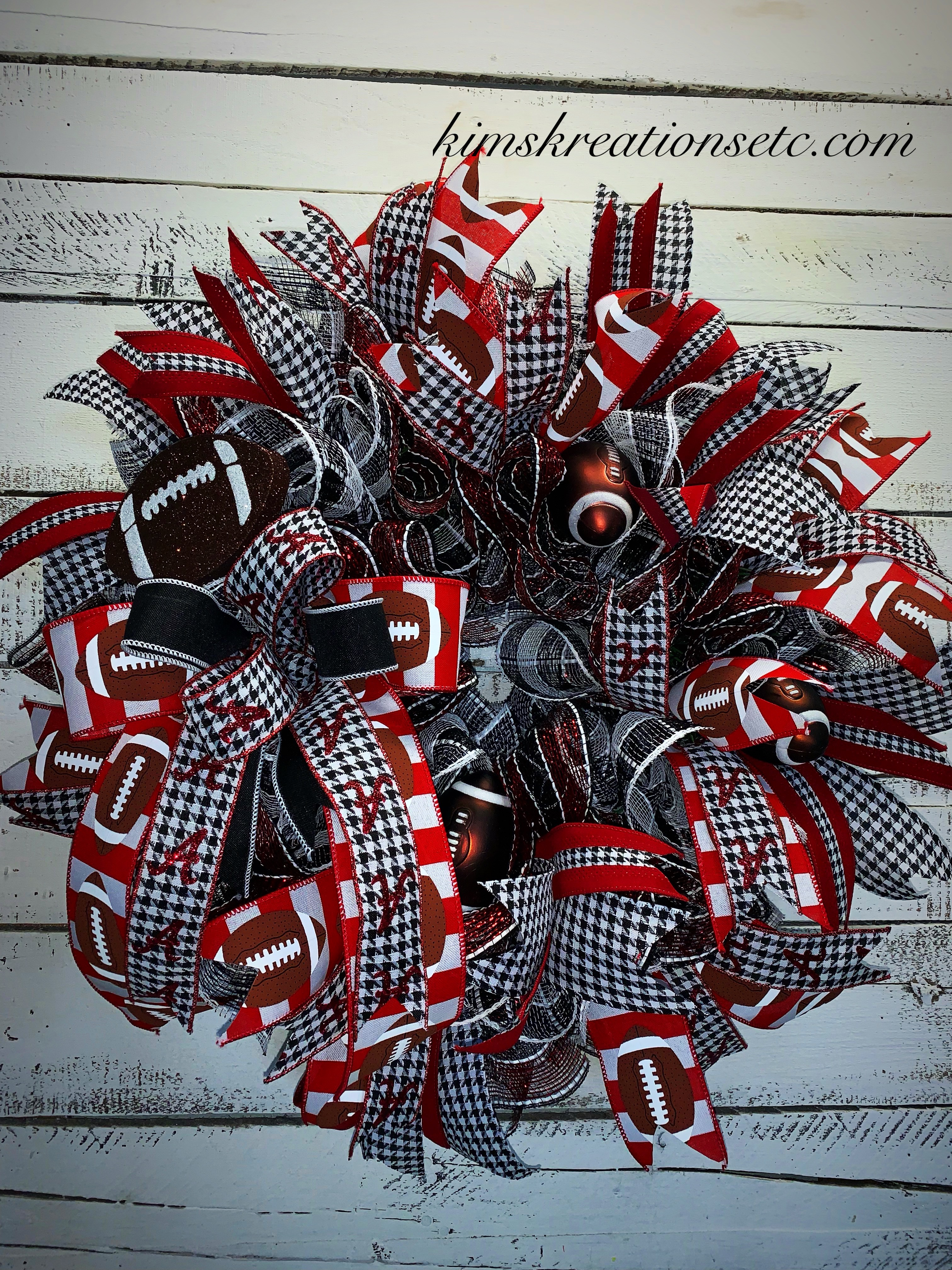 Sports Wreath Free Shipping Football Wreath College Football Wreath Crimson Red And Black Houndstooth College Football Door Wreath Sports Wreath For Front Door Home Decor Wreaths For Sale Kim S Kreations Etc