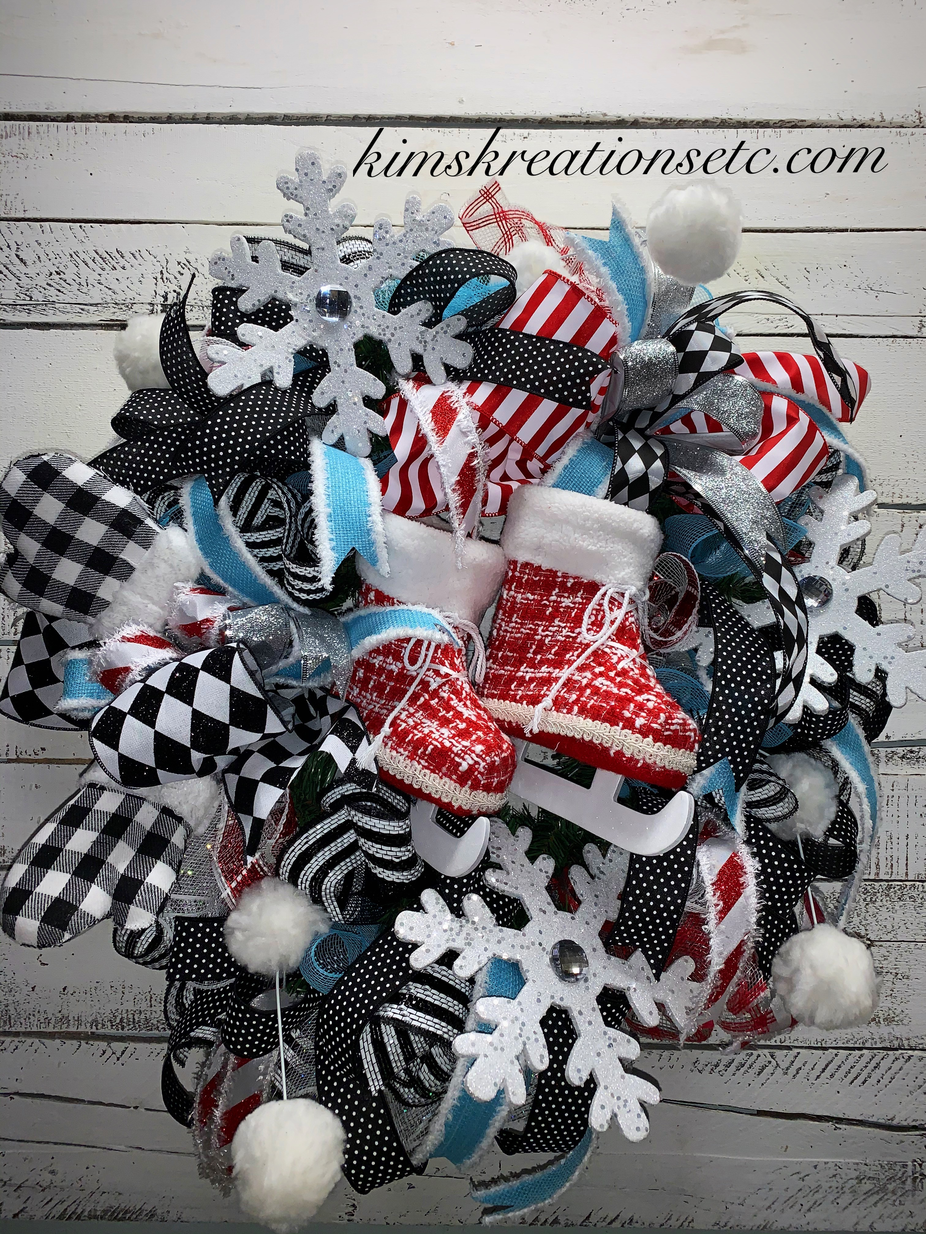 Winter Wreath Free Shipping Ice Skates Winter Door Wreath Black And White Plaid Winter Themed Wreath Wreath For Winter Ice Skates Wreath Front Door Wreath Winter Decor Home Decor Red Ice Skates