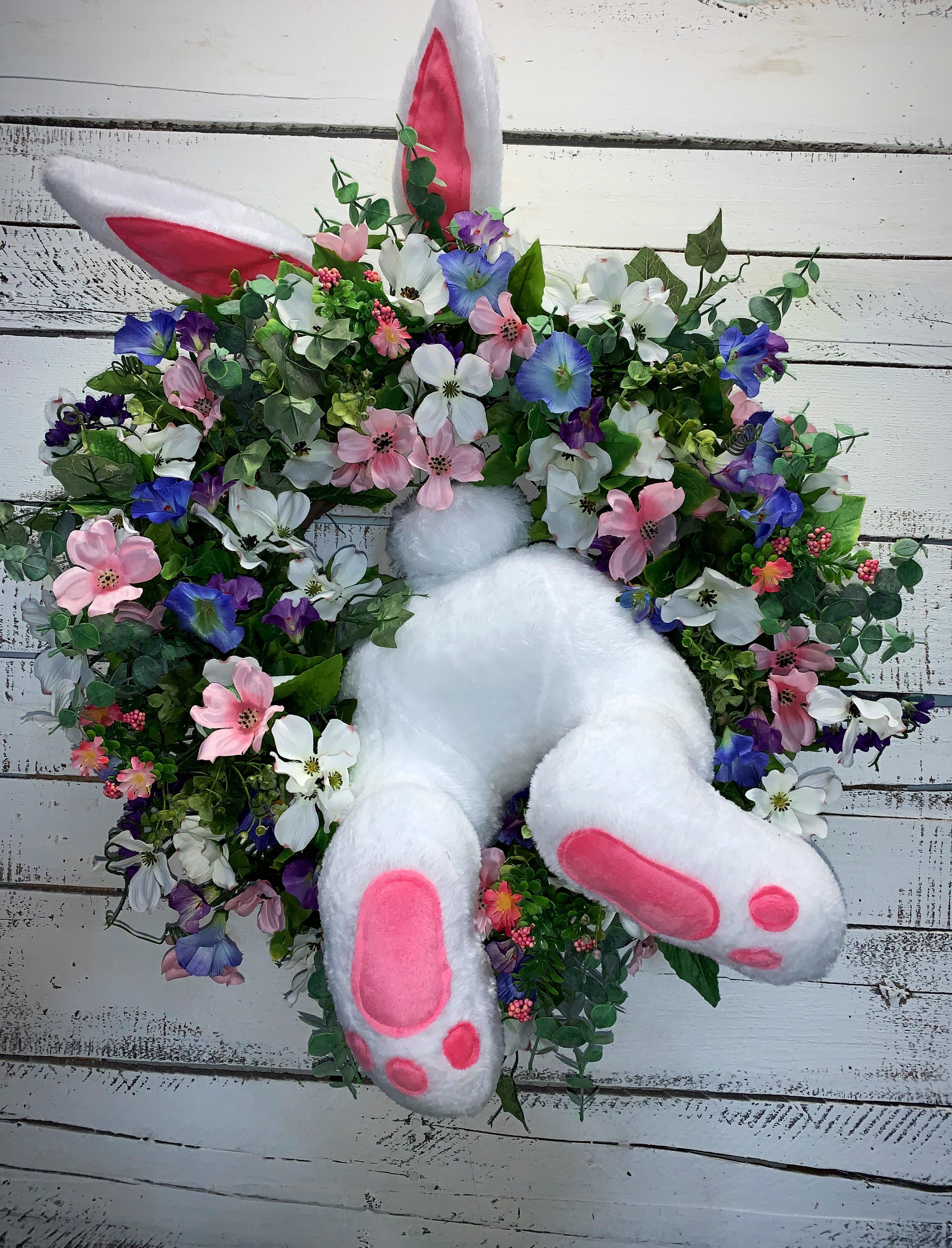 Easter Door Decoration Bunny Butt Wreath Kit Outdoor Indoor Hanging Welcome Sign