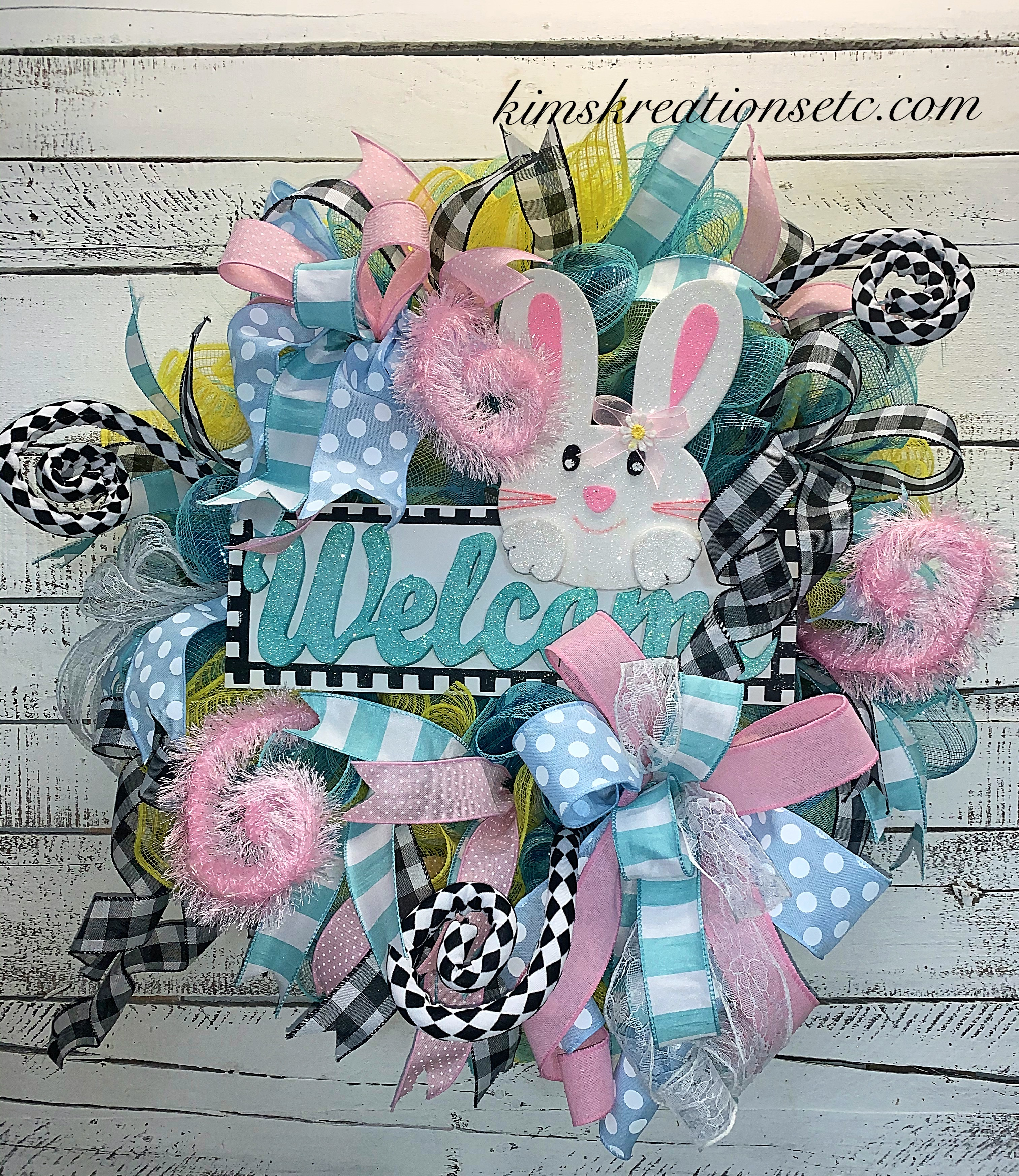Easter Wreath Free Shipping Easter Door Wreath Spring Wreath Easter Welcome Wreath Pink Blue And Yellow Wreath Front Door Wreath For Easter Easter Decor Easter Deco Mesh Wreath Handmade Wreaths Wreaths For