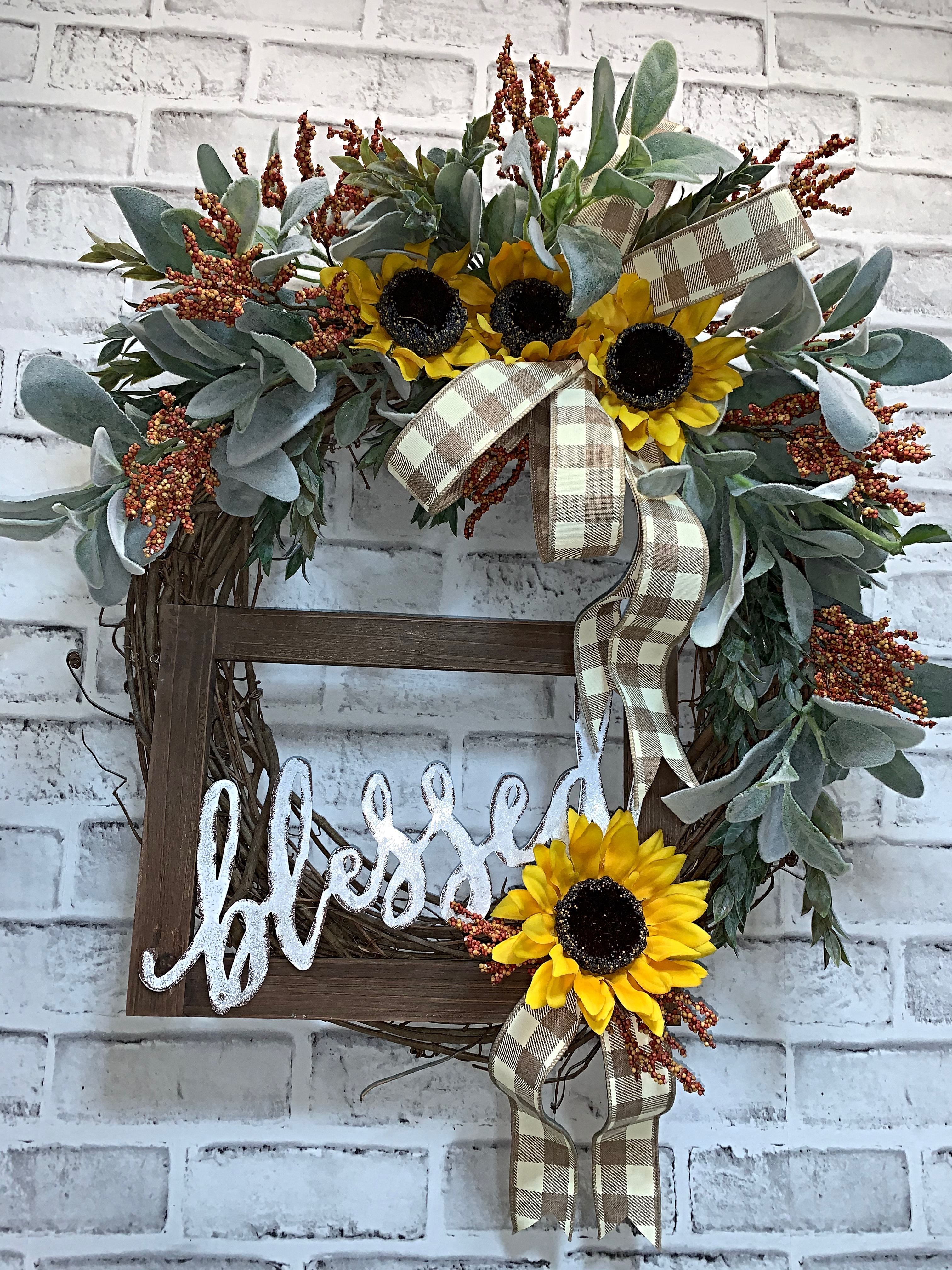 Fall Wreath Free Shipping Blessed Fall Wreath For Front Door Sunflower Wreath Sunflowers Lambs Ear Door Wreath Front Door Wreath Fall Berries Fall Grapevine Wreath Simple Fall Wreath Home Decor Fall Decor