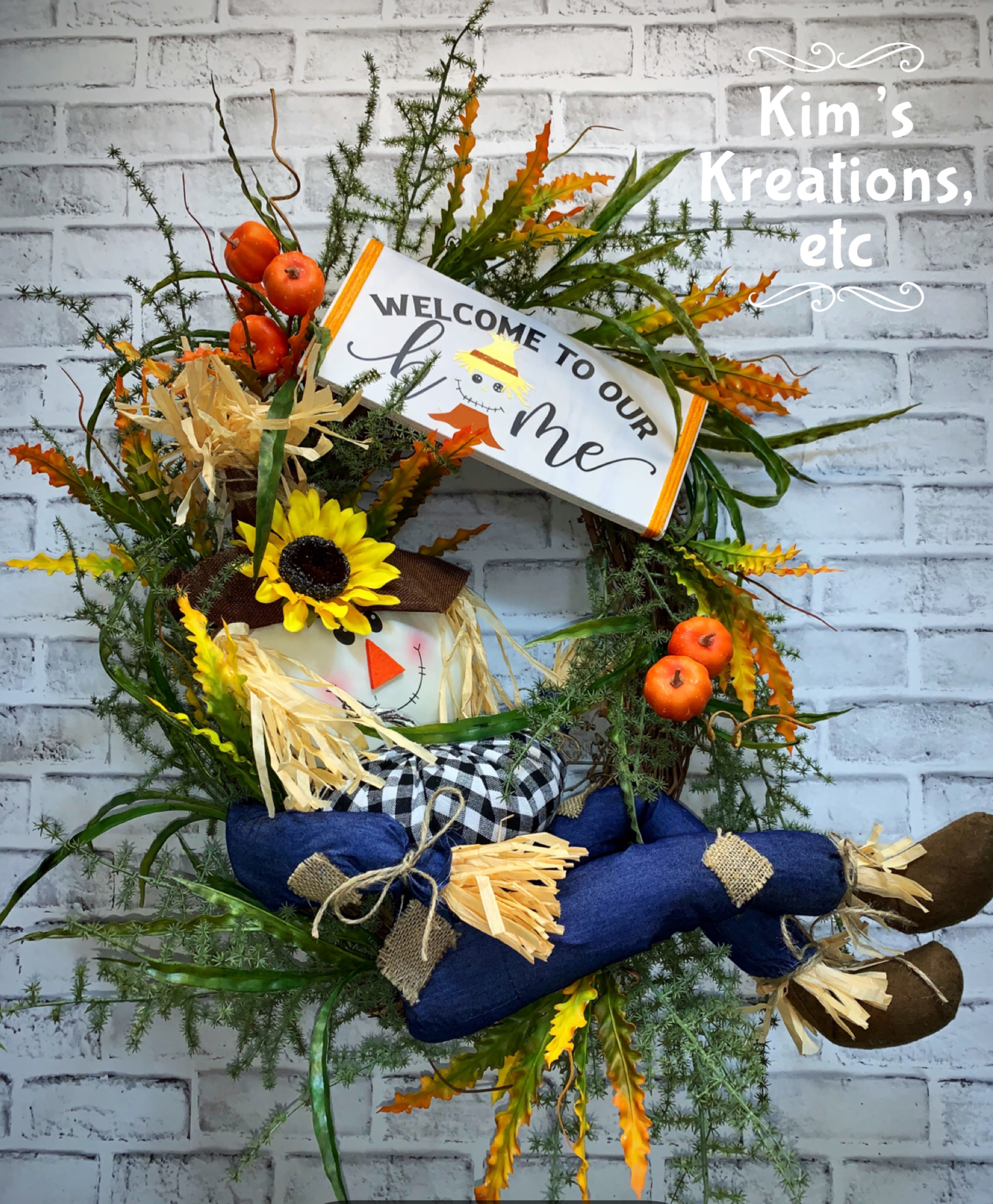 Fall Wreath Free Shipping Fall Scarecrow Fall Door Wreath Fall Welcome Wreath Black And White Plaid Scarecrow Wreath Denim Scarecrow Large Fall Wreath Wispy Fall Wreath Fall Scarecrow Oval Wreath For Fall
