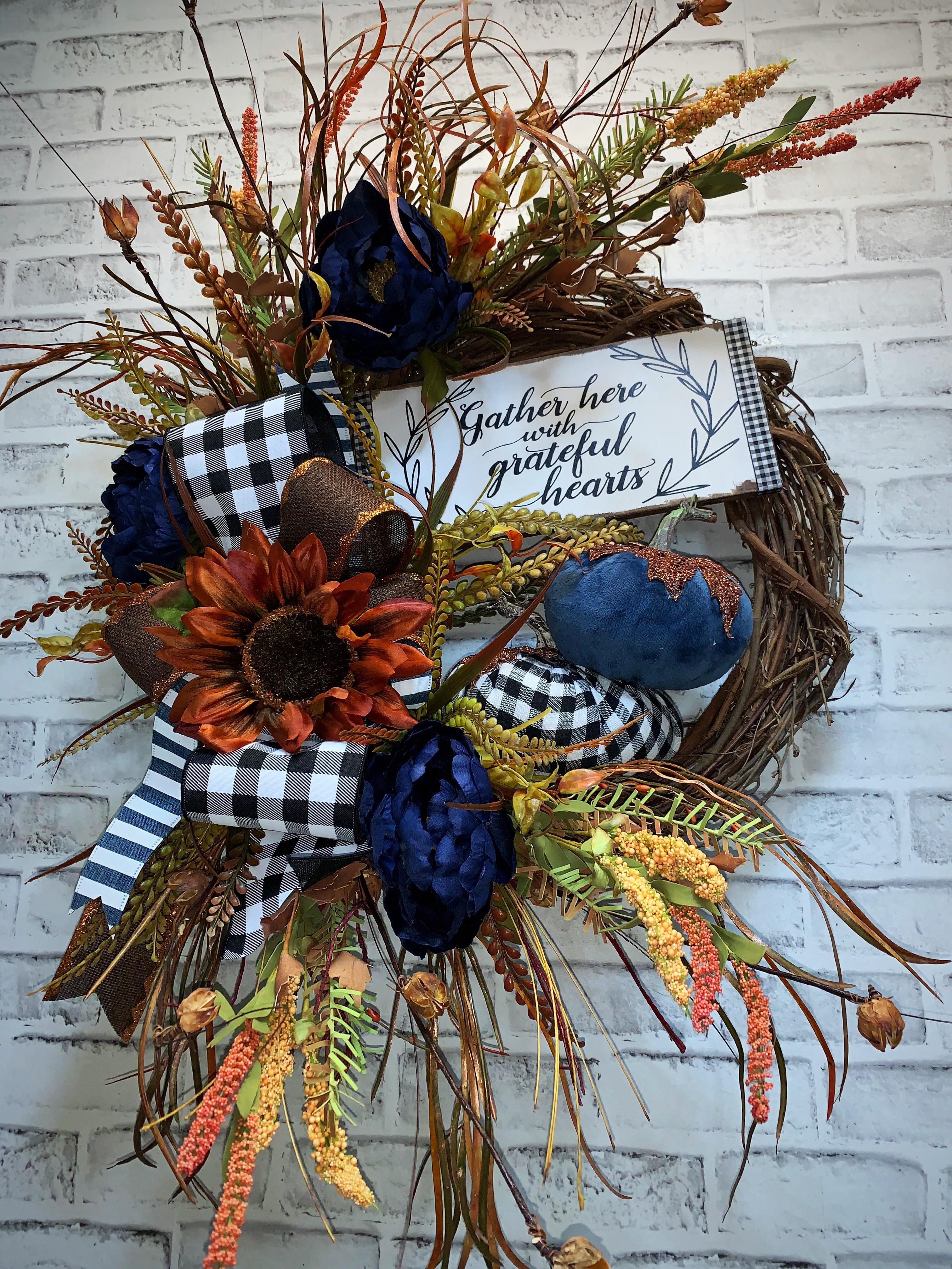 Fall Wreath Free Shipping Fall Door Wreath Fall Pumpkin Wreath Blue Pumpkins Blue For Fall Blue Fall Wreath Blue Peonies One Of A Kind Fall Wreath Black And White Plaid Pumpkin Wreath