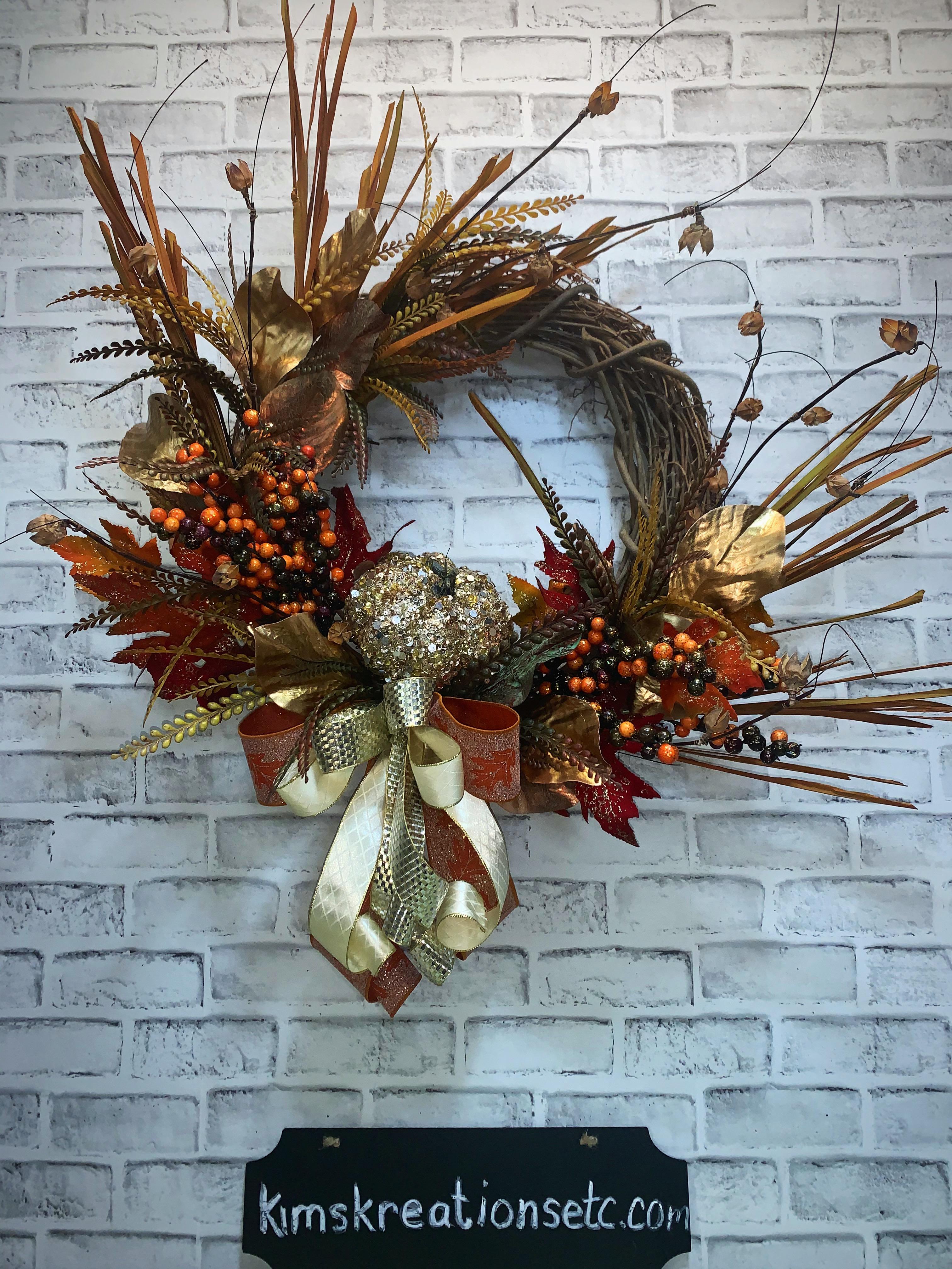 Fall Wreath Free Shipping Fall Door Wreath Fall Decorative Wreath Rustic Glam Fall Wreath Sequin Pumpkin Unique Fall Wreath Wreath For Fall Fall Decor Home Decor Handmade Wreaths Wreaths For Sale