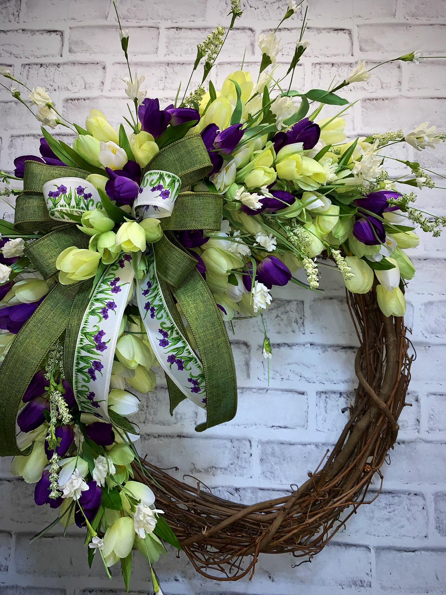 Extra Large Pot holders oven mitt Purple tulips